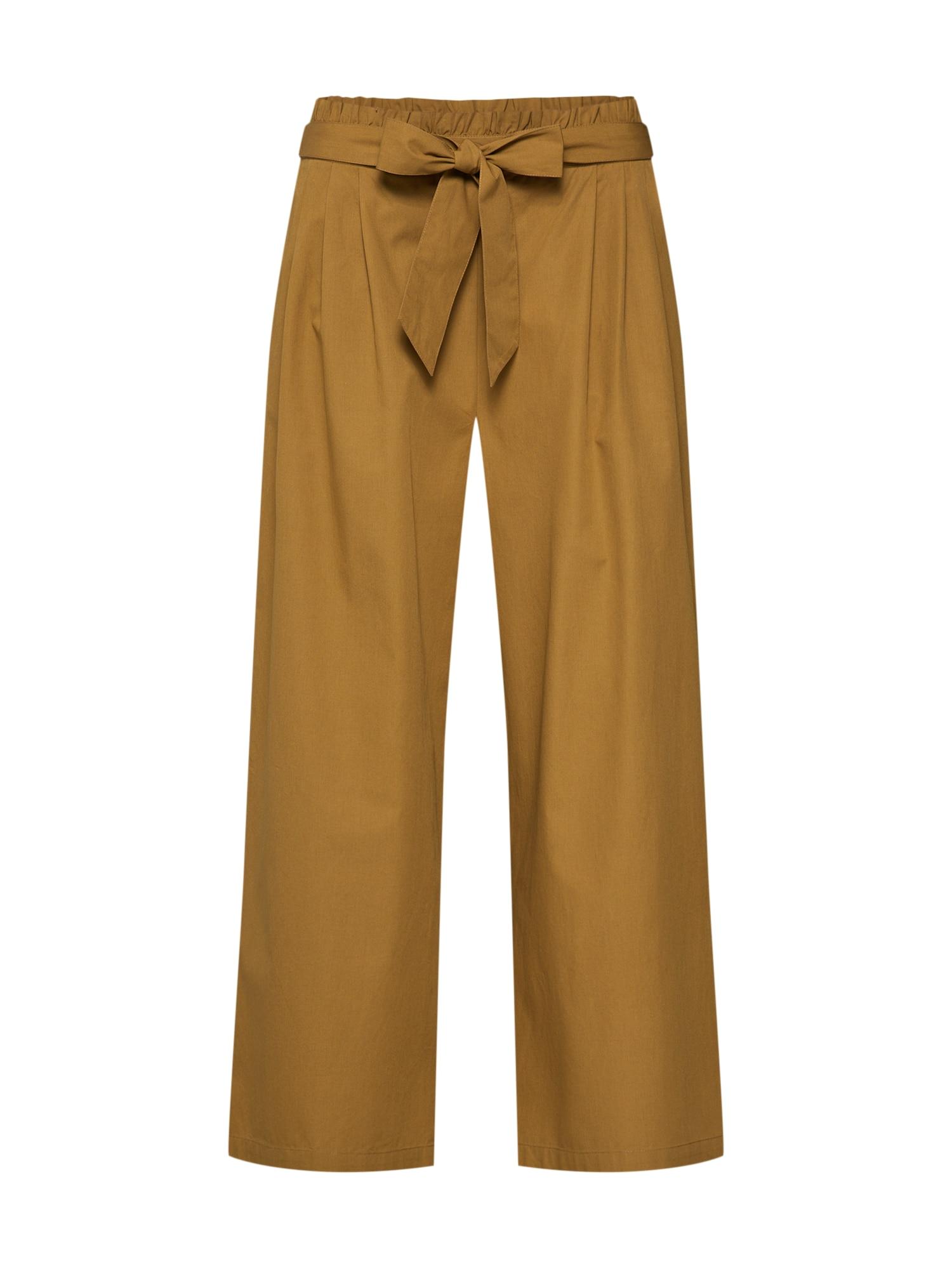 Kalhoty se sklady v pase hnědá hořčicová OBJECT