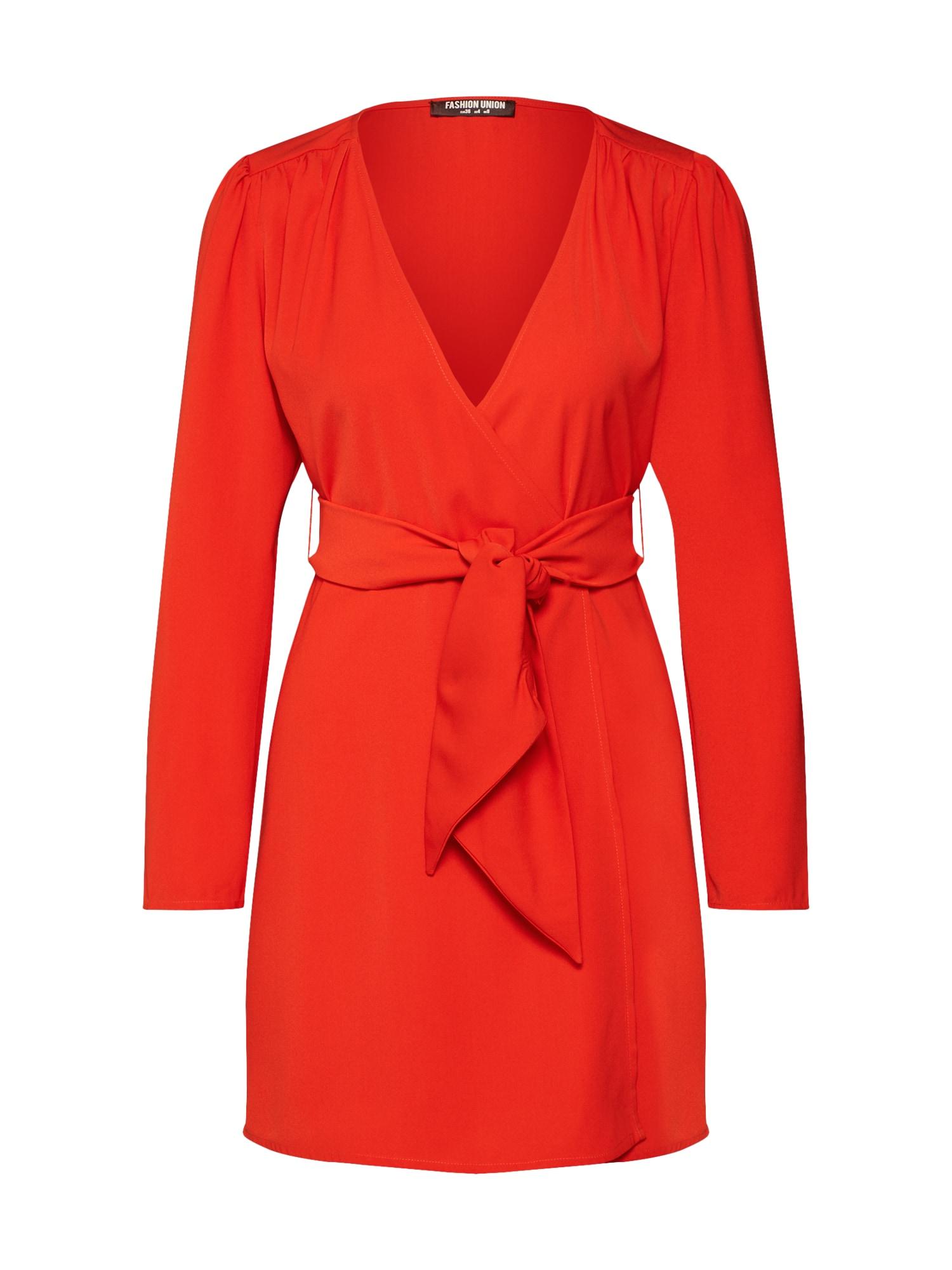 Košilové šaty Alina oranžově červená Fashion Union