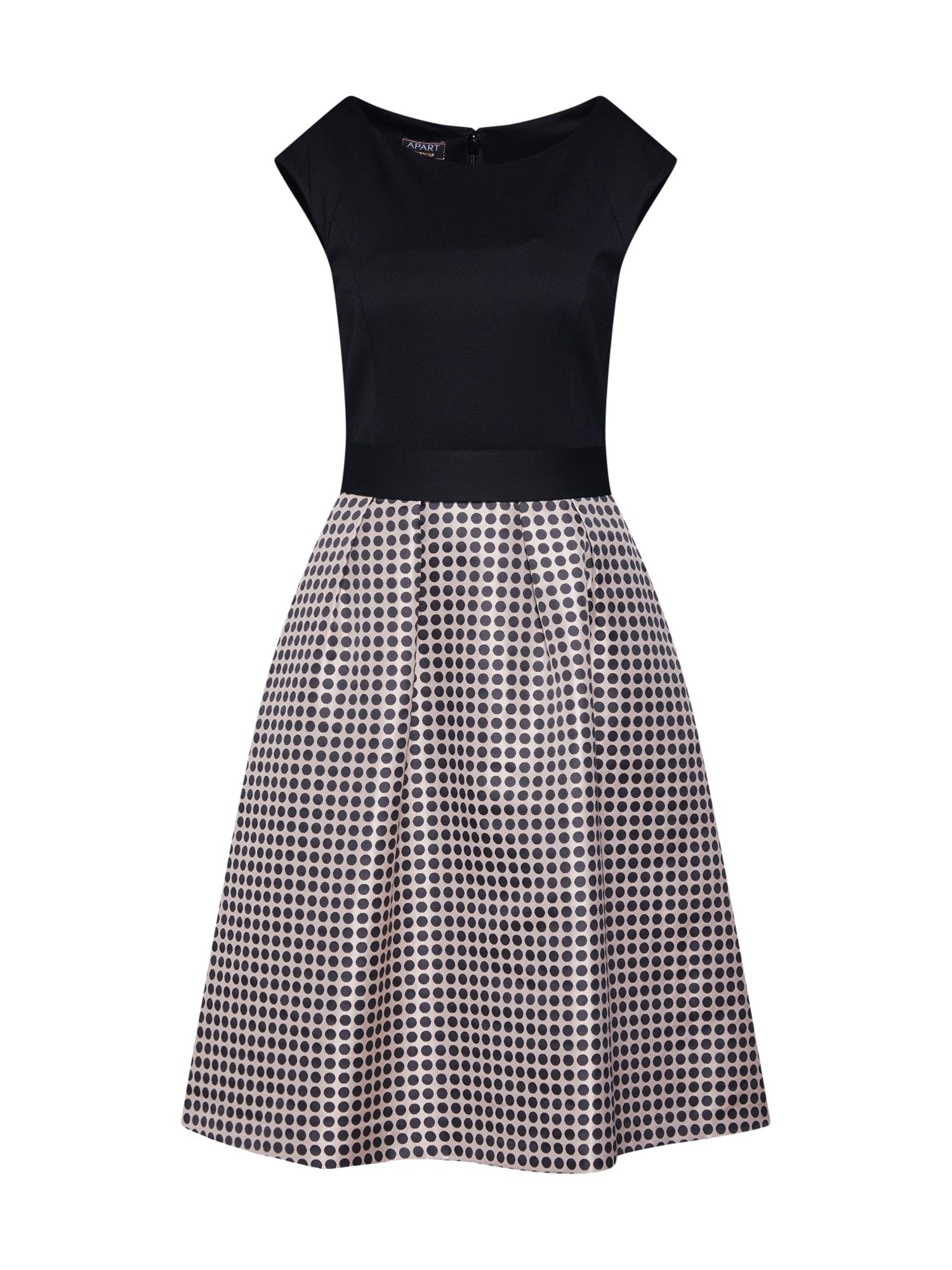 Koktejlové šaty béžová černá APART