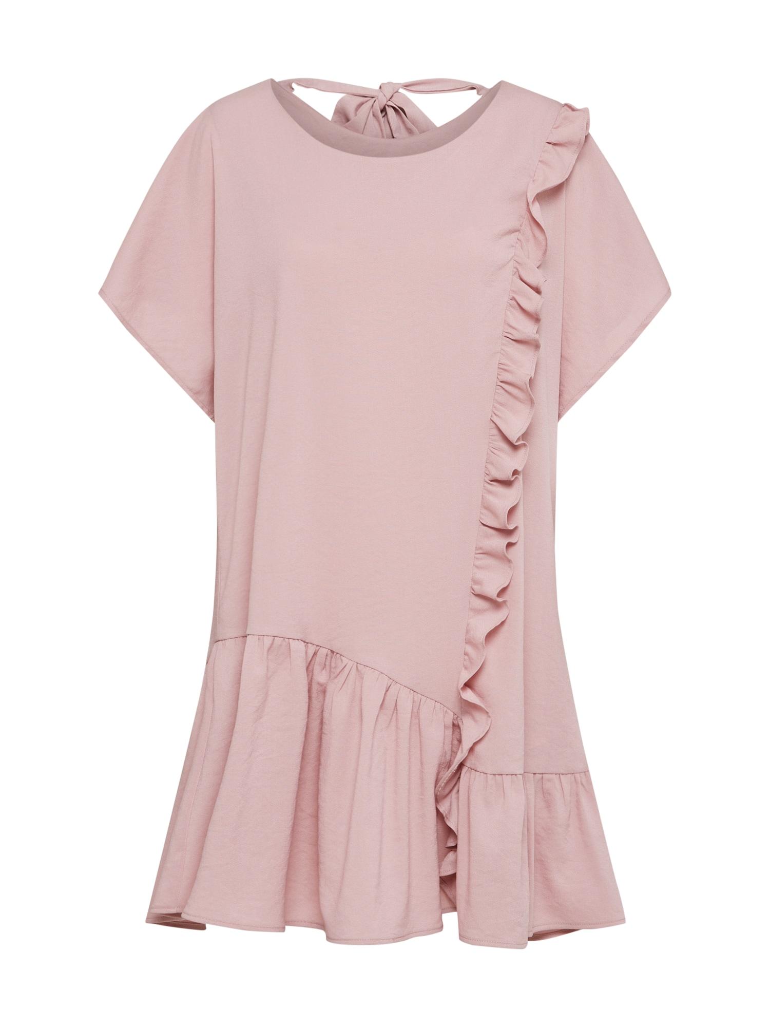 Lost Ink Sukienka koktajlowa 'Frill Front & Hem Shift Dress'  różowy pudrowy