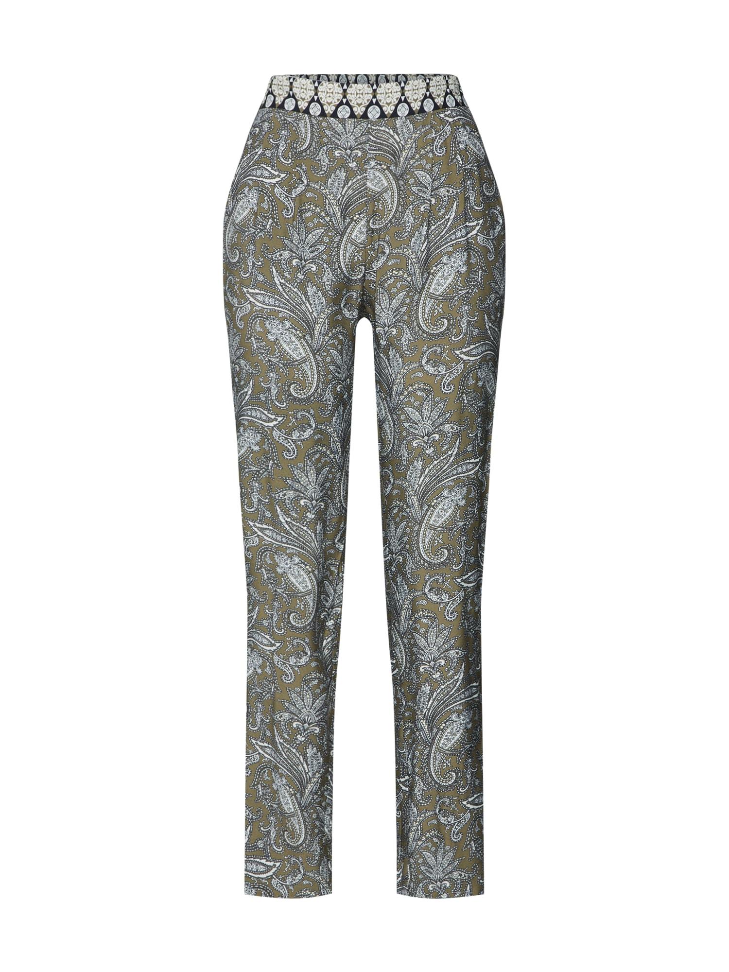 Kalhoty se sklady v pase zelená mix barev MORE & MORE
