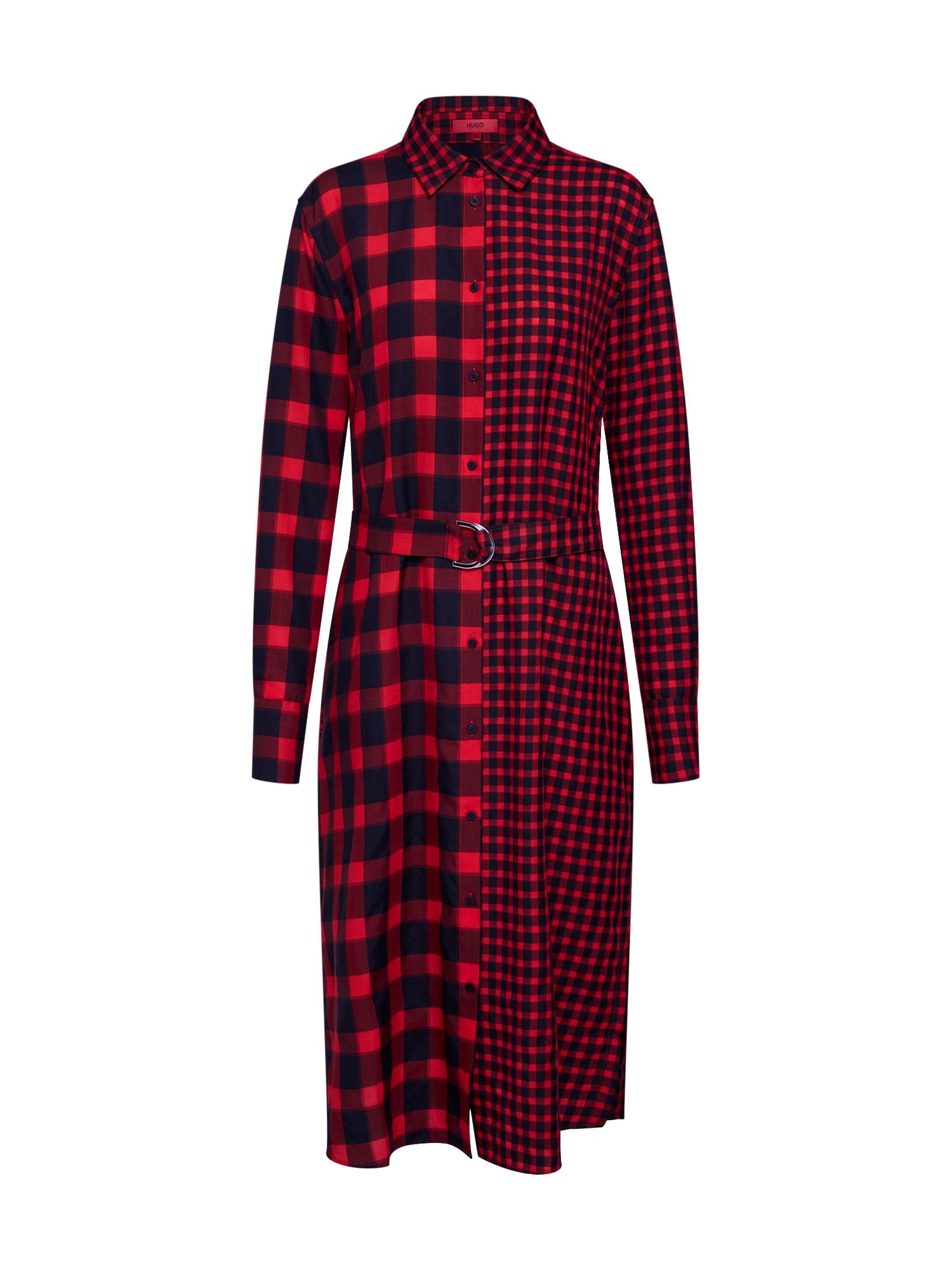 Košilové šaty Evantis červená černá HUGO