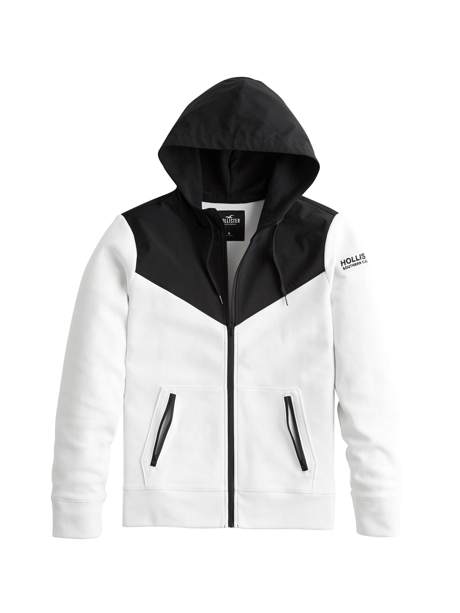 HOLLISTER Mikina s kapucí 'NEOPRENE'  černá / bílá