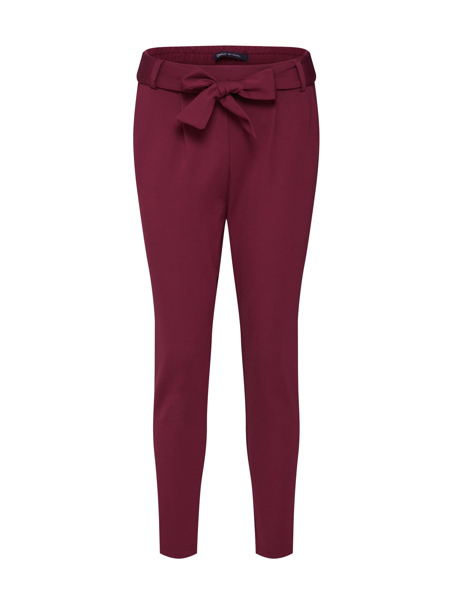 Kalhoty se sklady v pase vínově červená ONLY