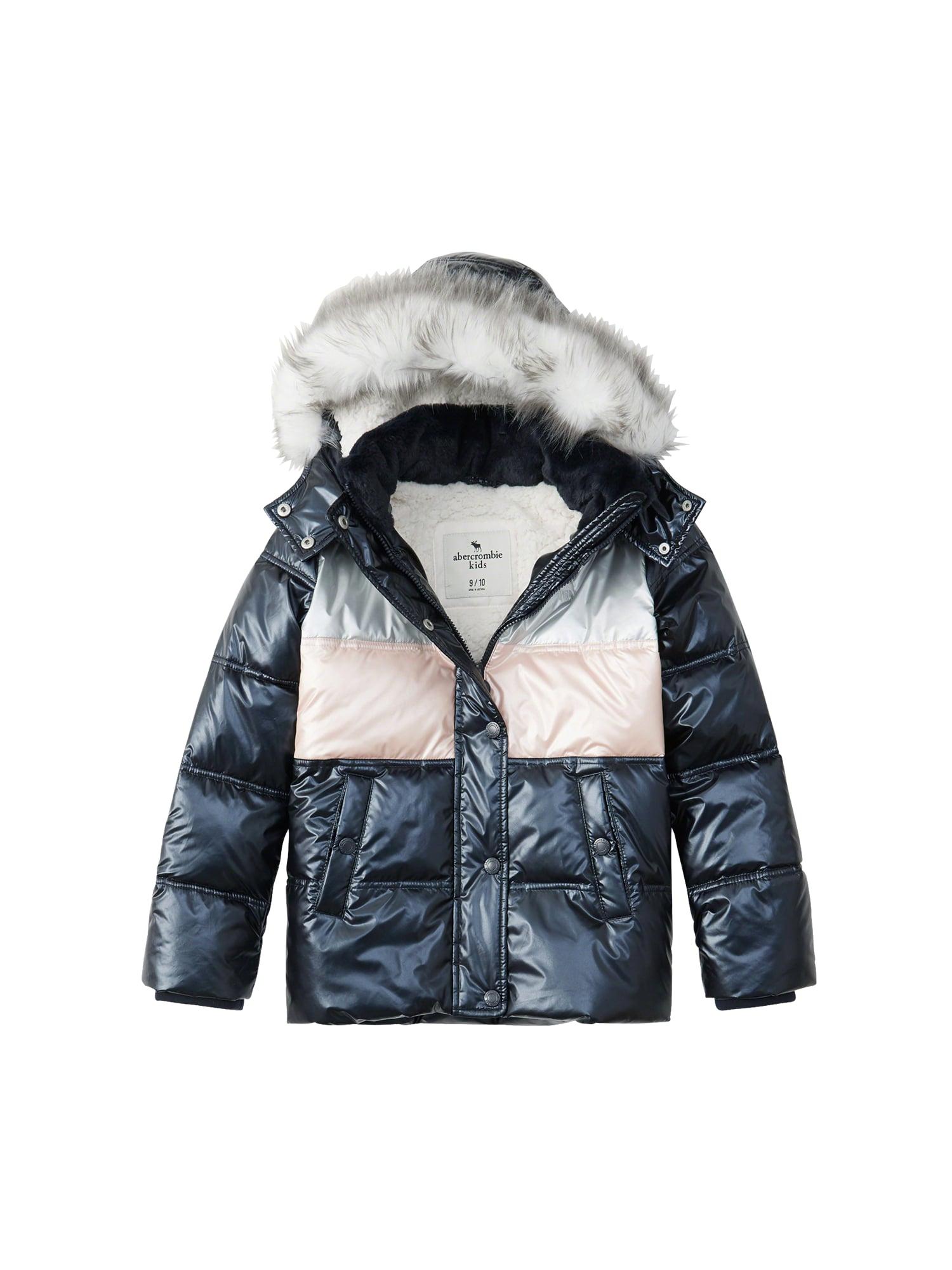 Zimní bunda XM18-S2 - ESSENTIAL PUFFER pink stříbrná Abercrombie & Fitch
