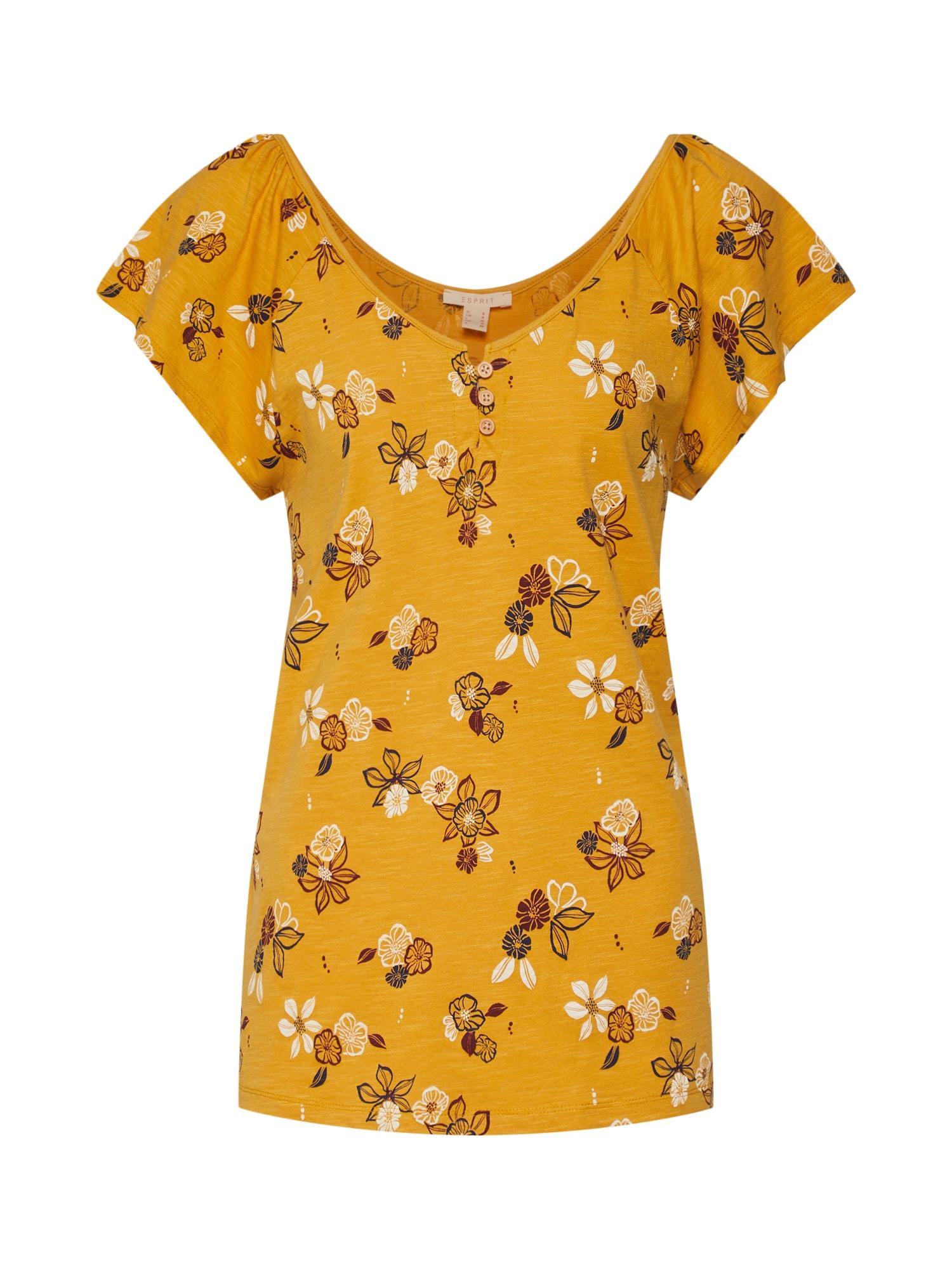 Tričko AOP AW Tee zlatě žlutá ESPRIT