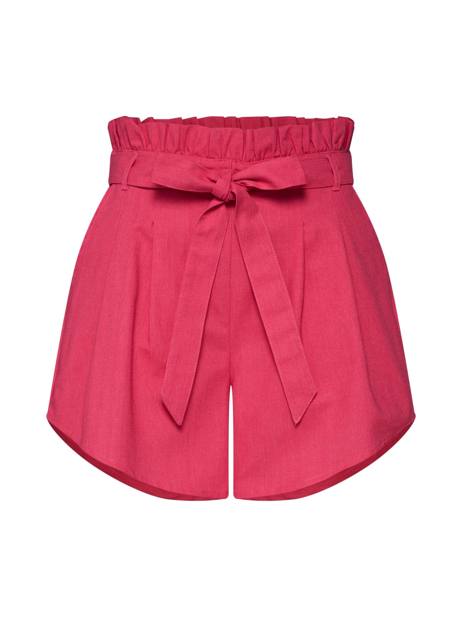 Kalhoty se sklady v pase magenta GLAMOROUS