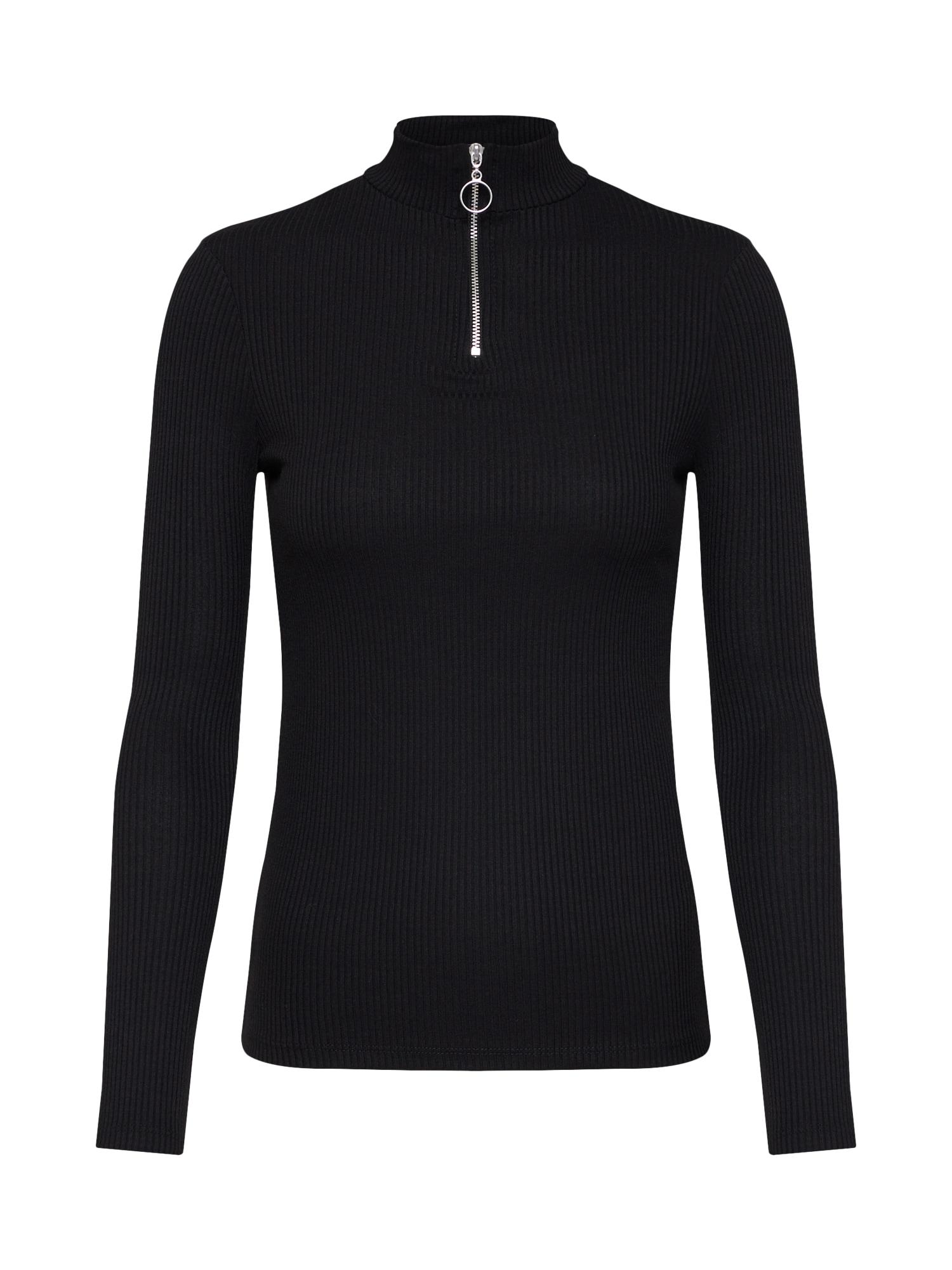 Tričko ZIP HIGH NECK LS černá NEW LOOK