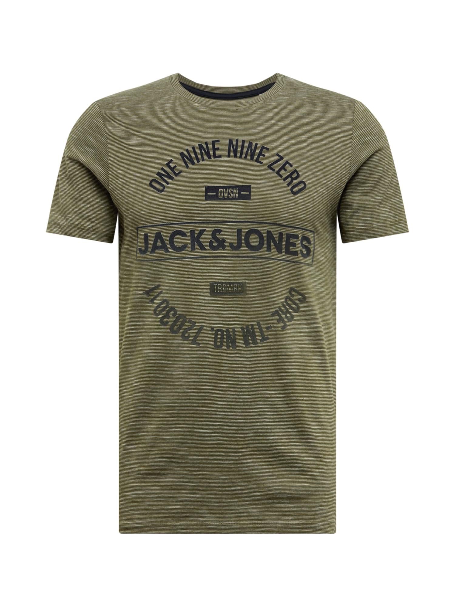 JACK & JONES Tričko 'JCOMICK'  tmavě zelená / černá