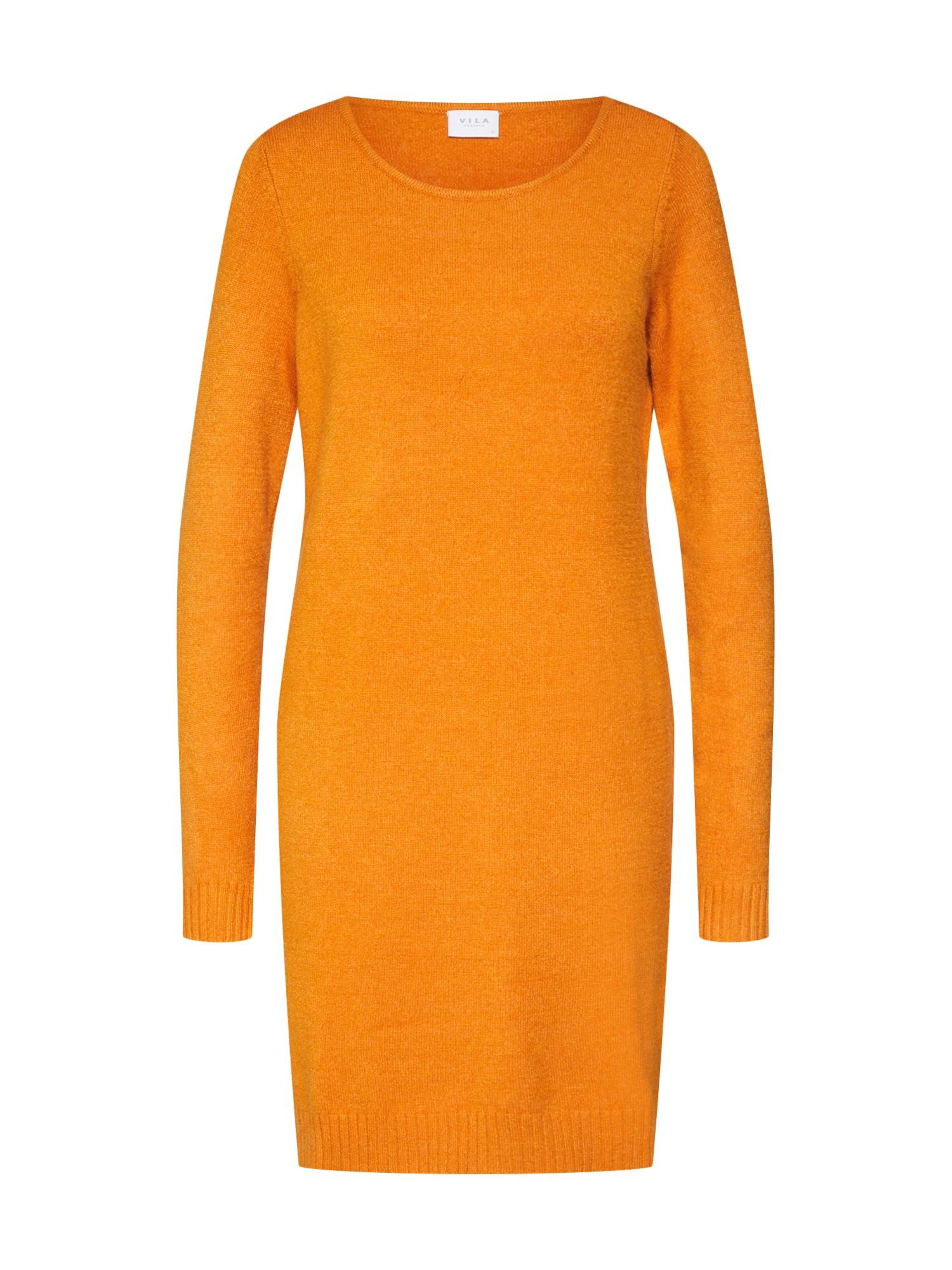 Úpletové šaty oranžová VILA