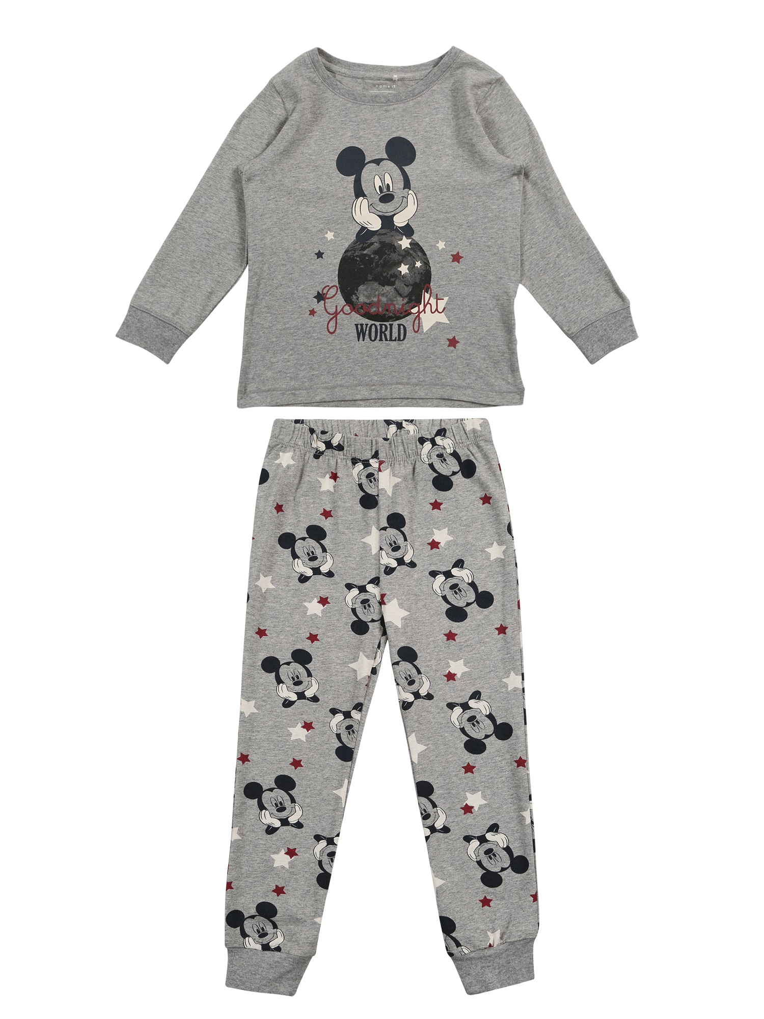 Pyžamo NMMMICKEY VINNY LS NIGHTWEAR šedá mix barev NAME IT