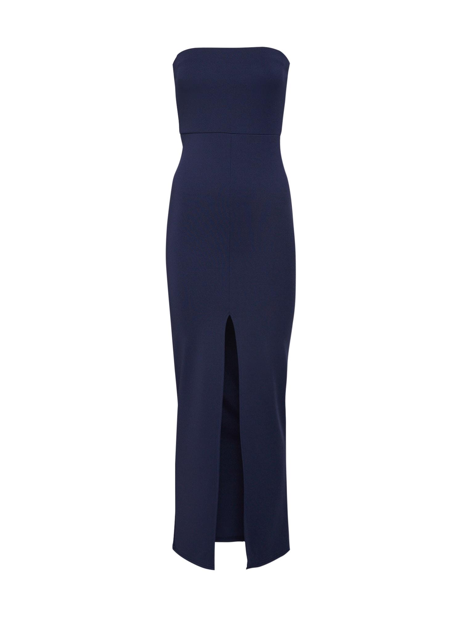 Letní šaty BANDEAU SPLIT FRONT MAXI DRESS námořnická modř Missguided