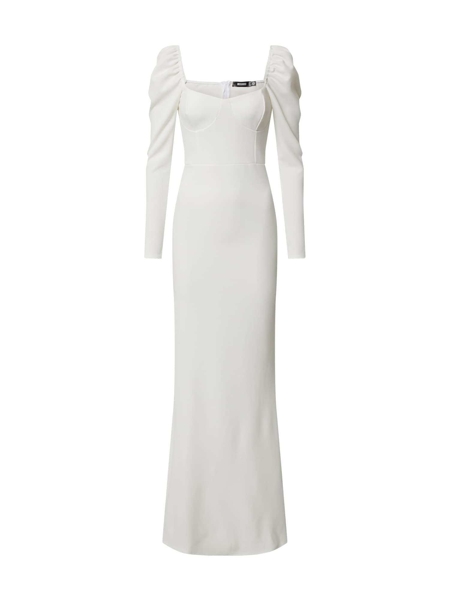 Missguided Společenské šaty 'MILKMAID LS FISHTAIL MAXI DRESS'  bílá