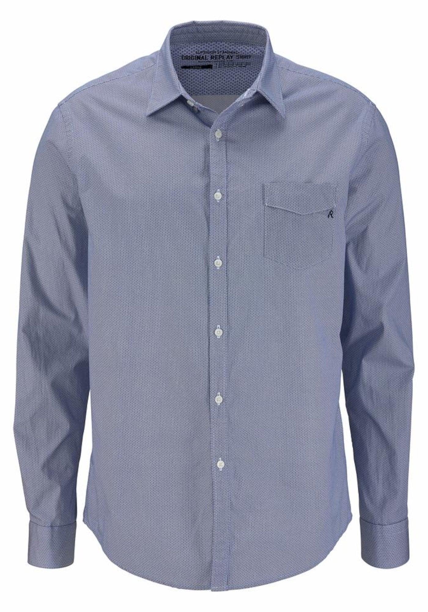 REPLAY Heren Overhemd smoky blue