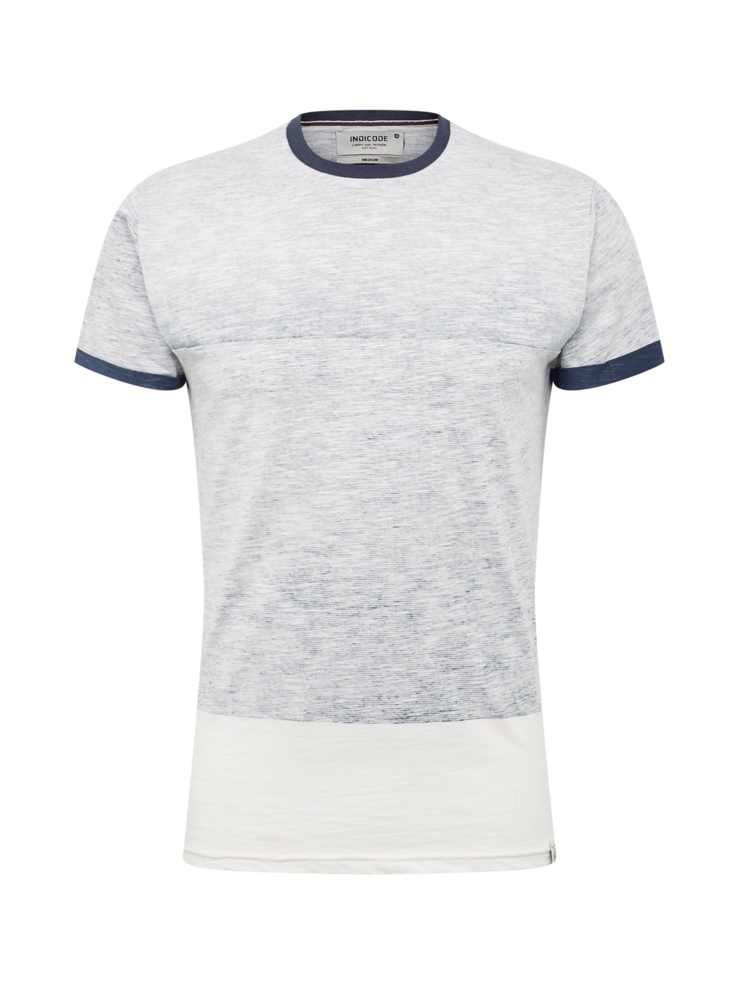 Tričko Crombie krémová námořnická modř INDICODE JEANS