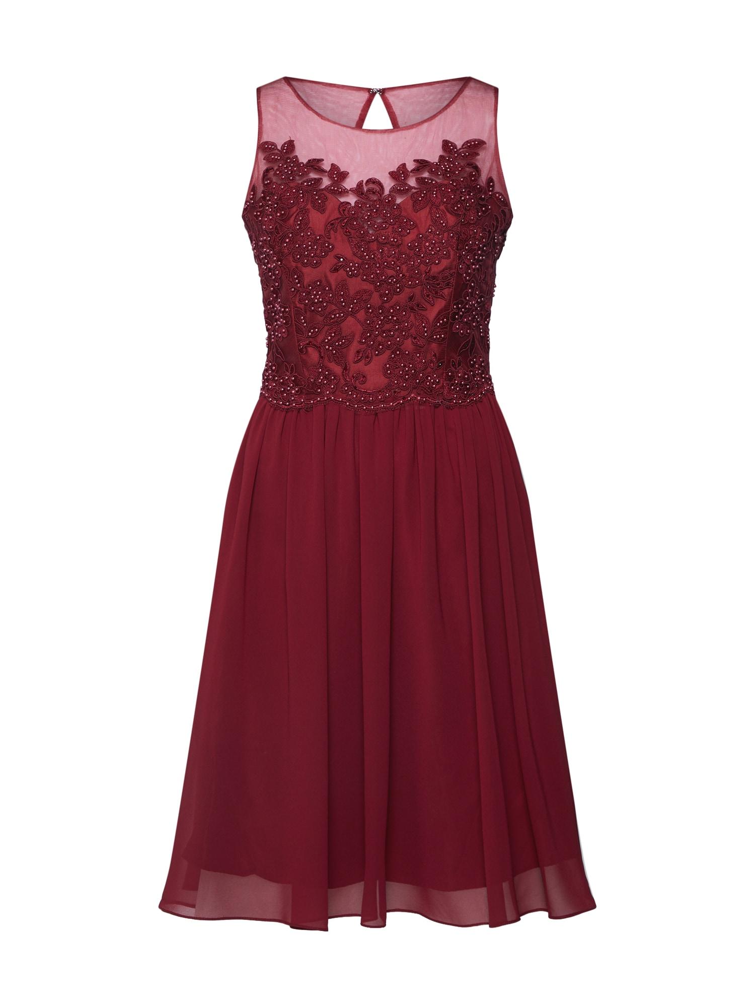 Koktejlové šaty LACE KEYHOLE vínově červená Mascara