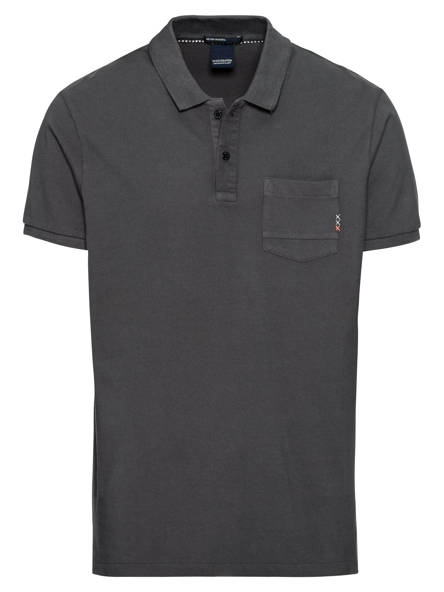 SCOTCH  and  SODA Heren Shirt Ams Blauw garment dyed polo with XXX pocket antrac