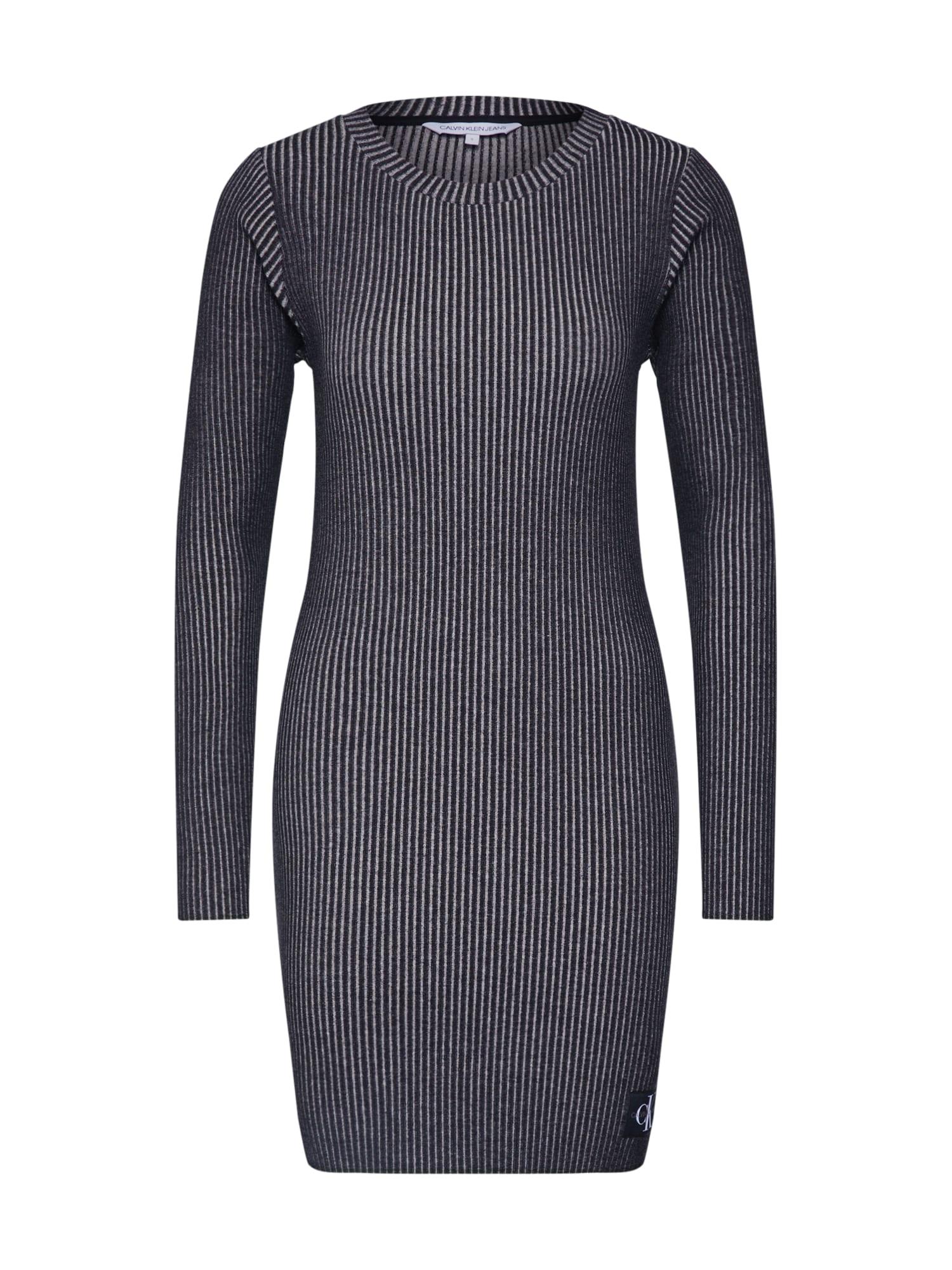 Calvin Klein Jeans Šaty 'LONG SLEEVE RIB DRESS'  čierna