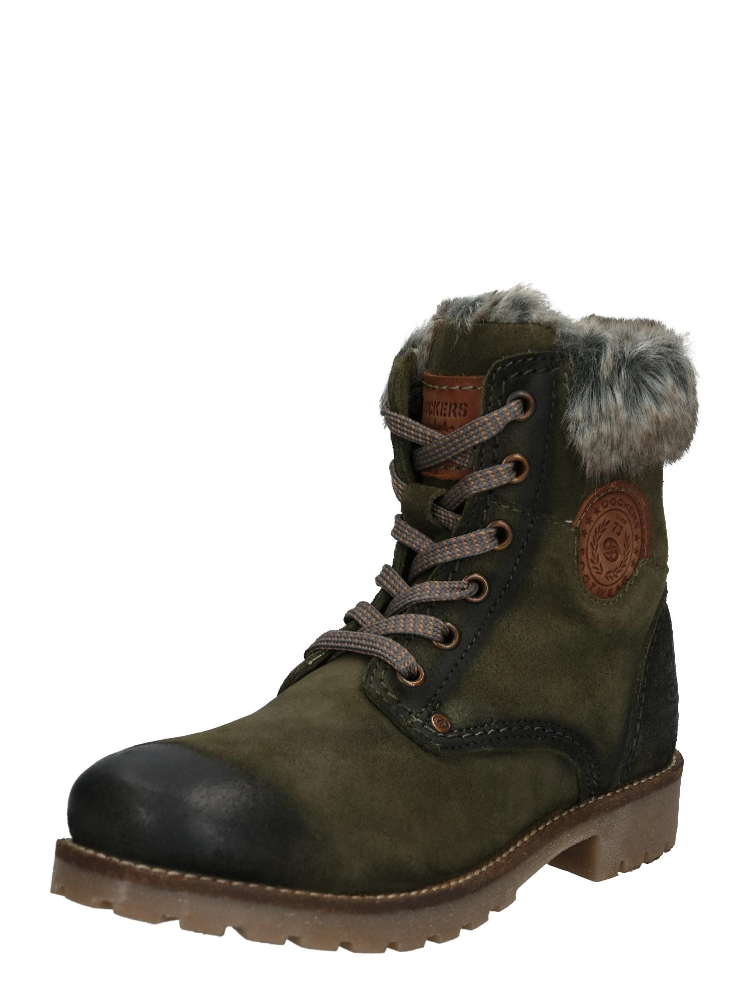 Šněrovací boty tmavě zelená Dockers By Gerli
