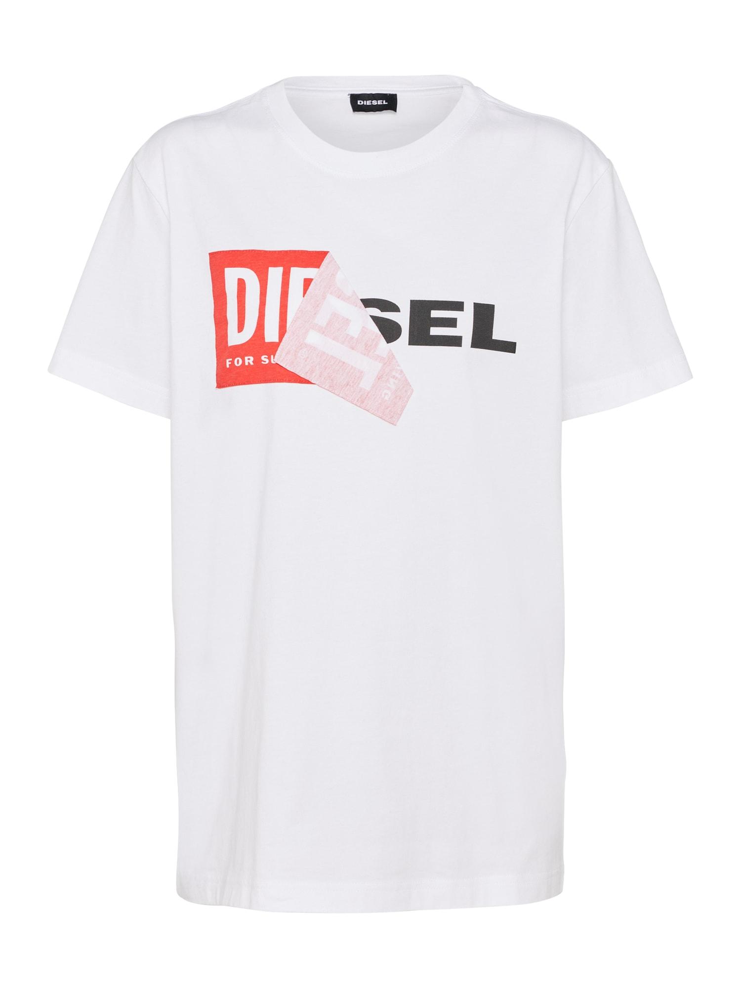 DIESEL Dames Shirt lichtrood zwart wit