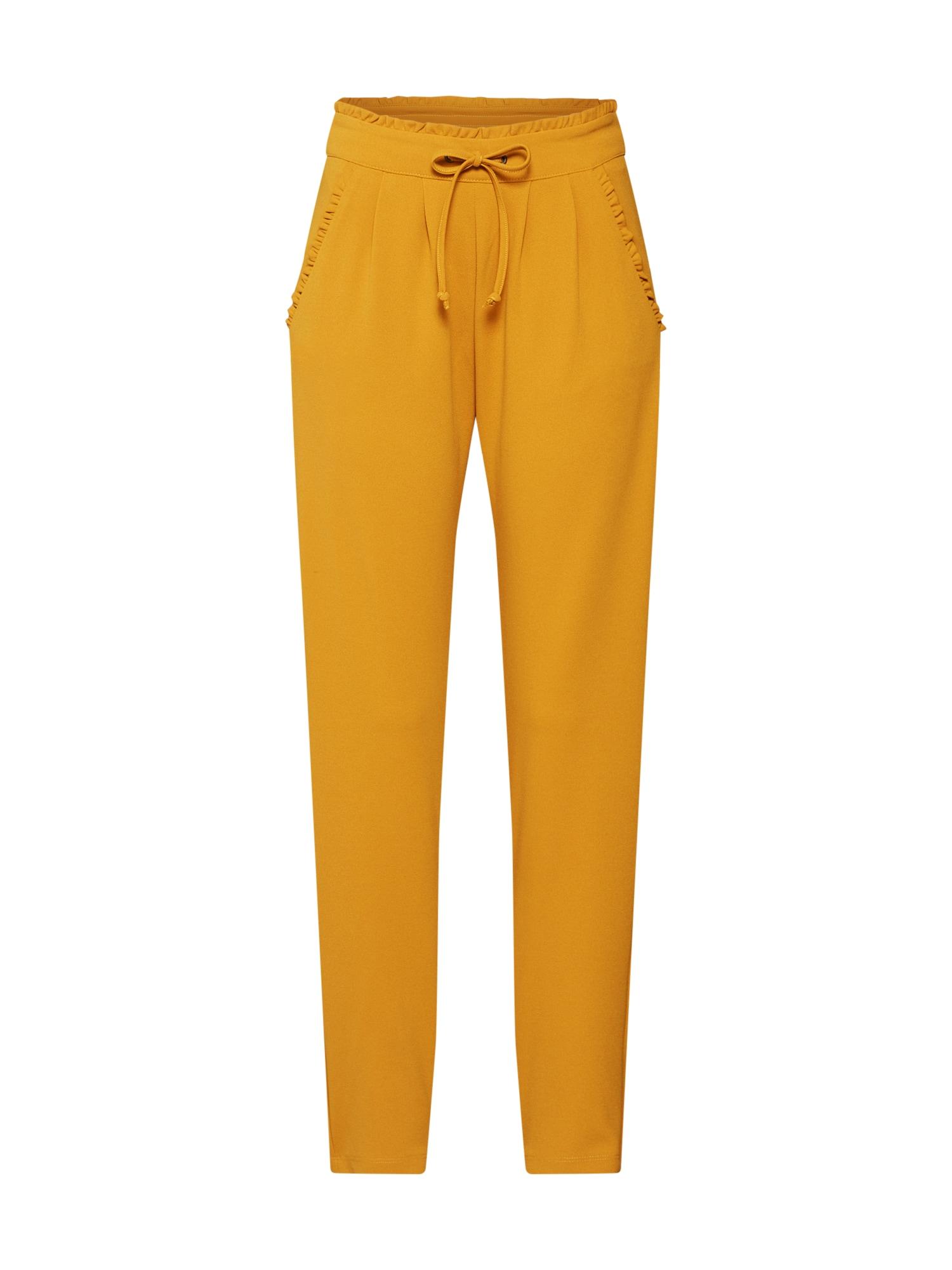 Kalhoty se sklady v pase CATIA hořčicová JACQUELINE De YONG