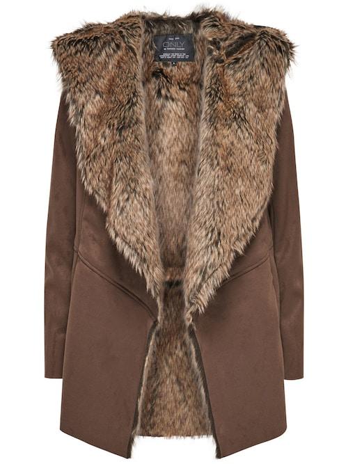 - Mantel im Wildleder-Look - Fell-Look an der Innenseite - Drapierte Kapuze - Kordel-Gürtel an der Taille - Verdeckte Taschen in der Seitennaht - Länge: 80 cm in Größe M. - Das Model ist 174 cm