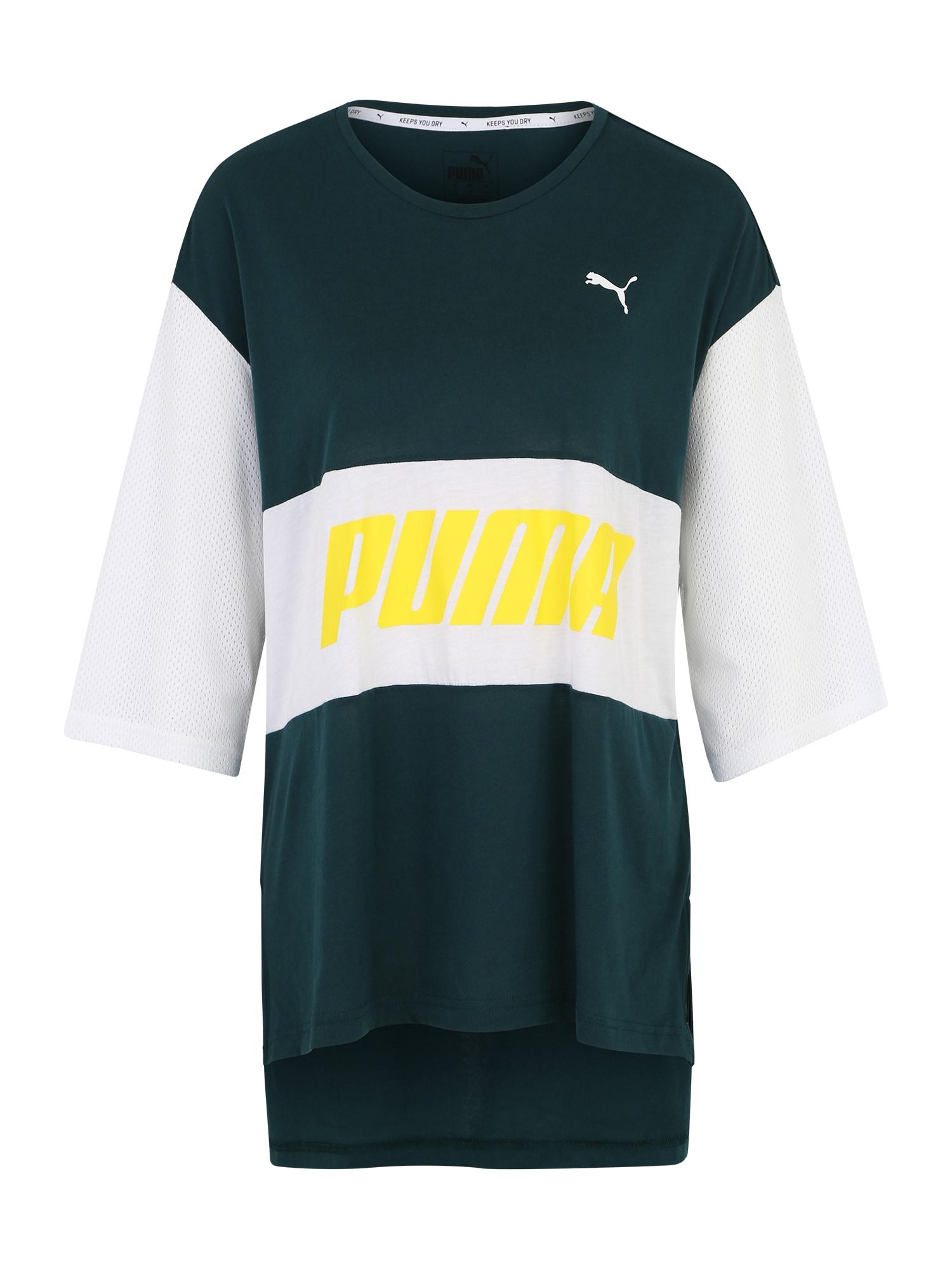 Funkční tričko Modern Sports Boyfriend Tee žlutá tmavě zelená bílá PUMA