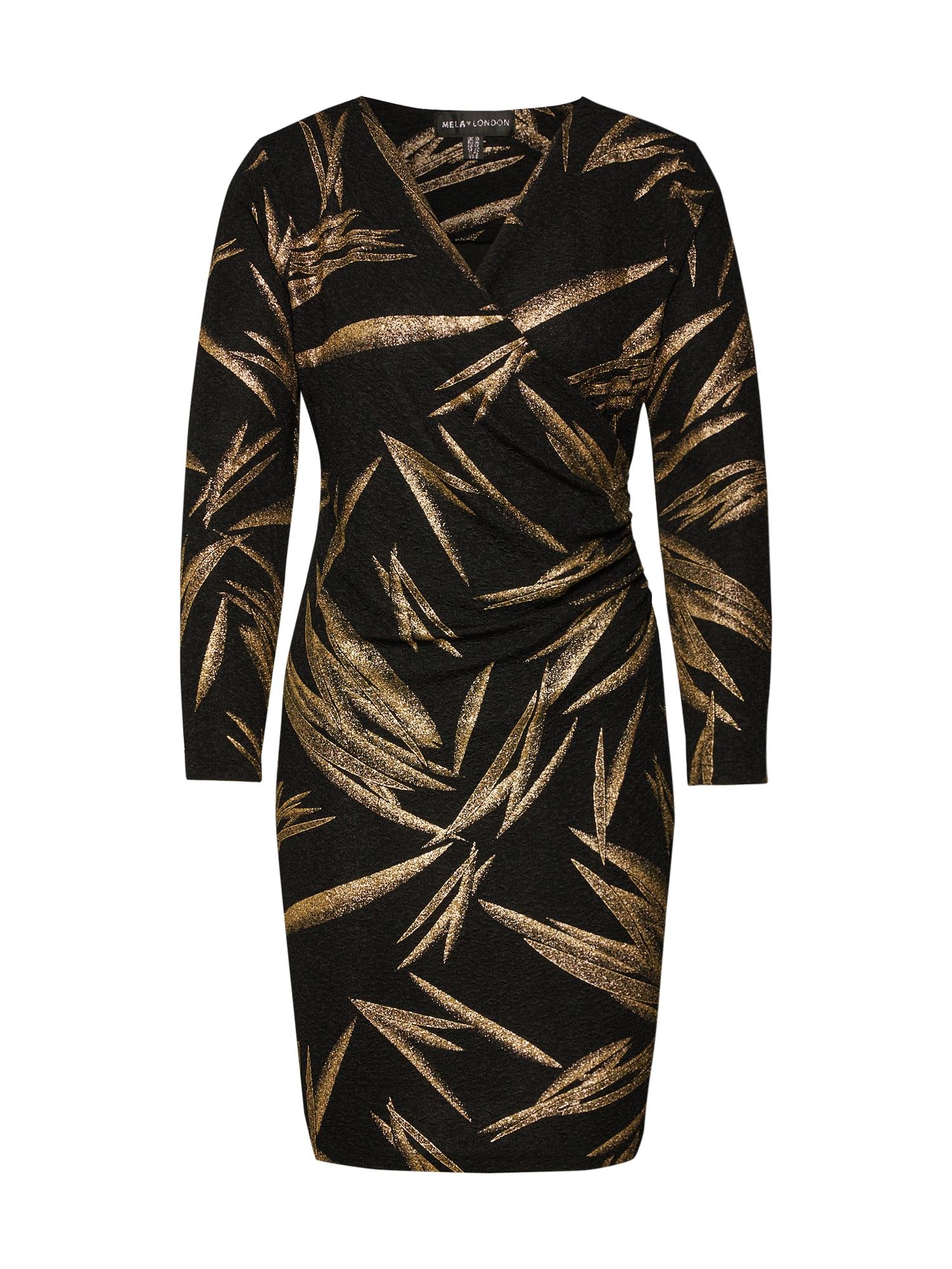 Šaty zlatá černá Mela London