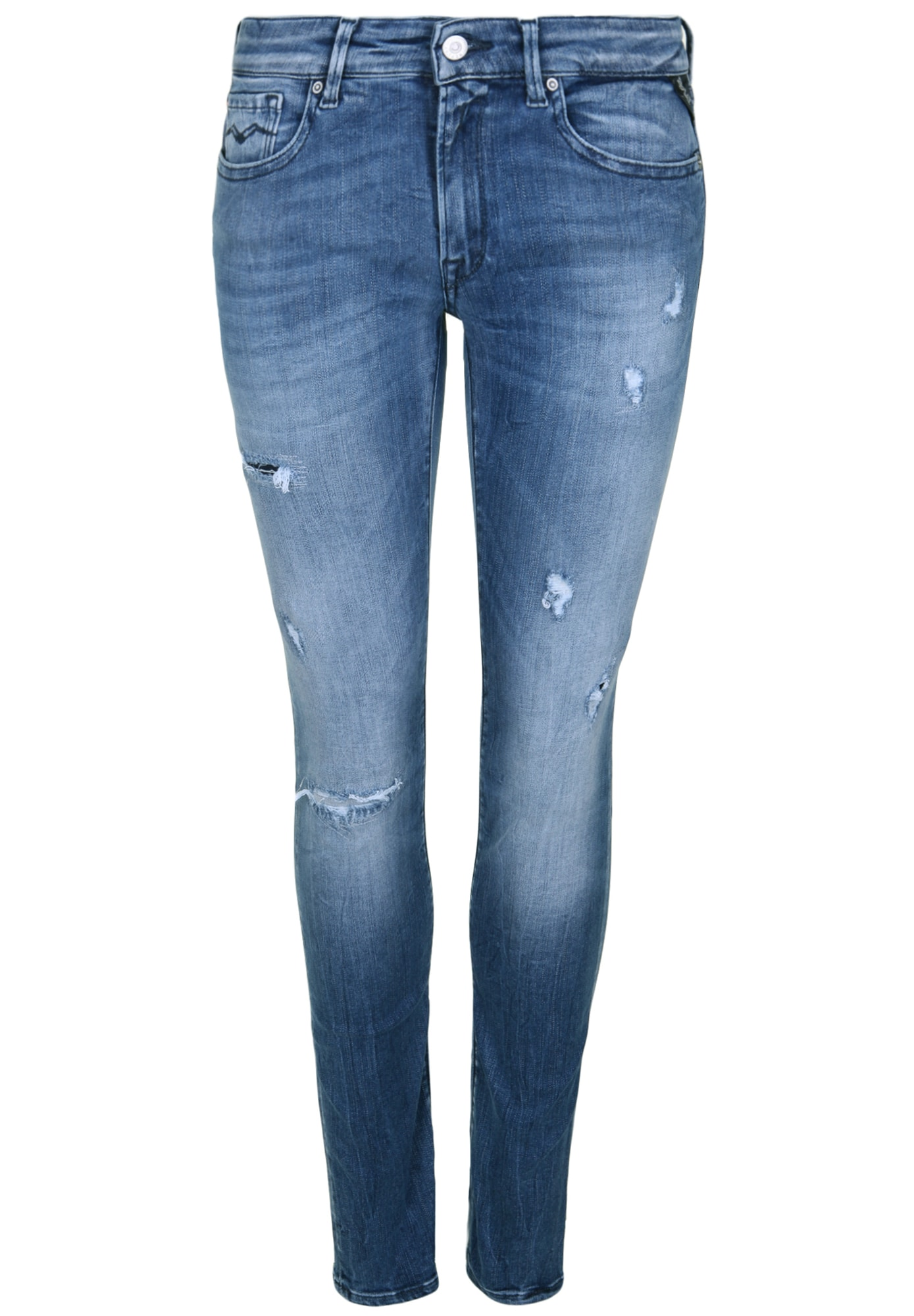 REPLAY Dames Jeans LUZ DESTROYED blauw
