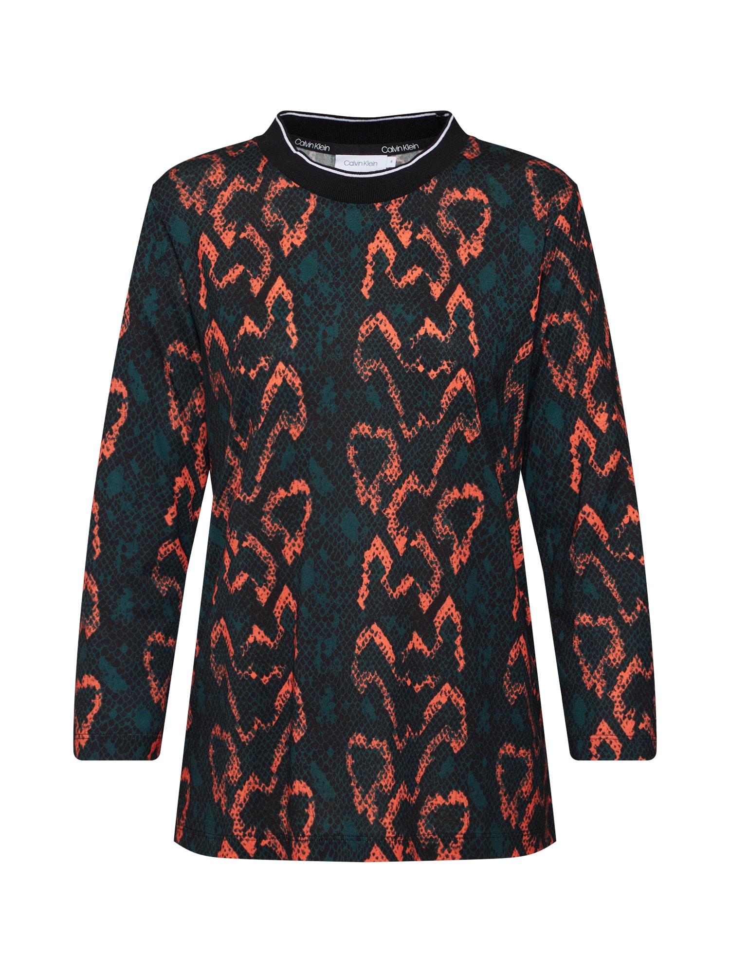 Calvin Klein Tričko 'PRT 3/4 SLEEVE RIB NECK TOP'  oranžová / čierna