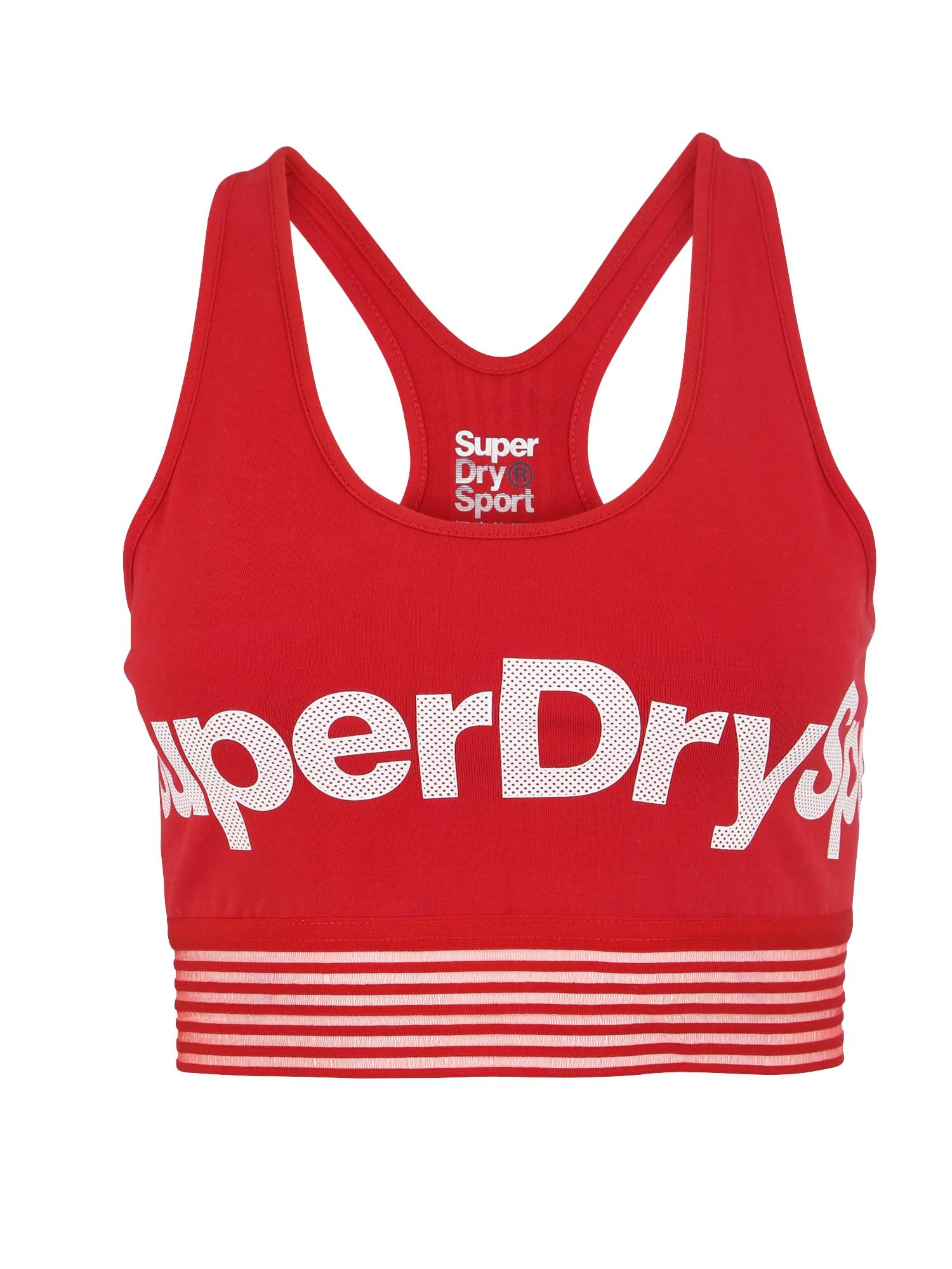 Sportovní podprsenka červená bílá Superdry
