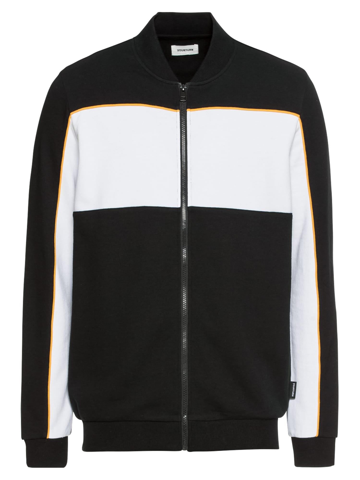 Mikina s kapucí Colorblock Zipthrough černá bílá YOURTURN