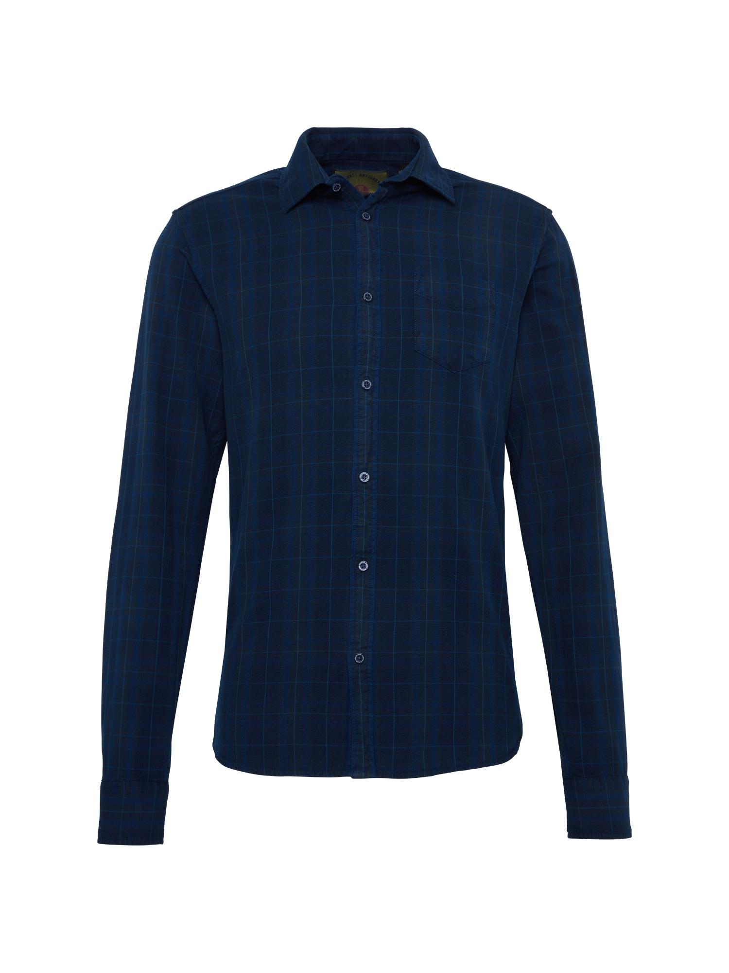 SCOTCH  and  SODA Heren Overhemd Ams blauw slim fit indigo oxford check shirt do