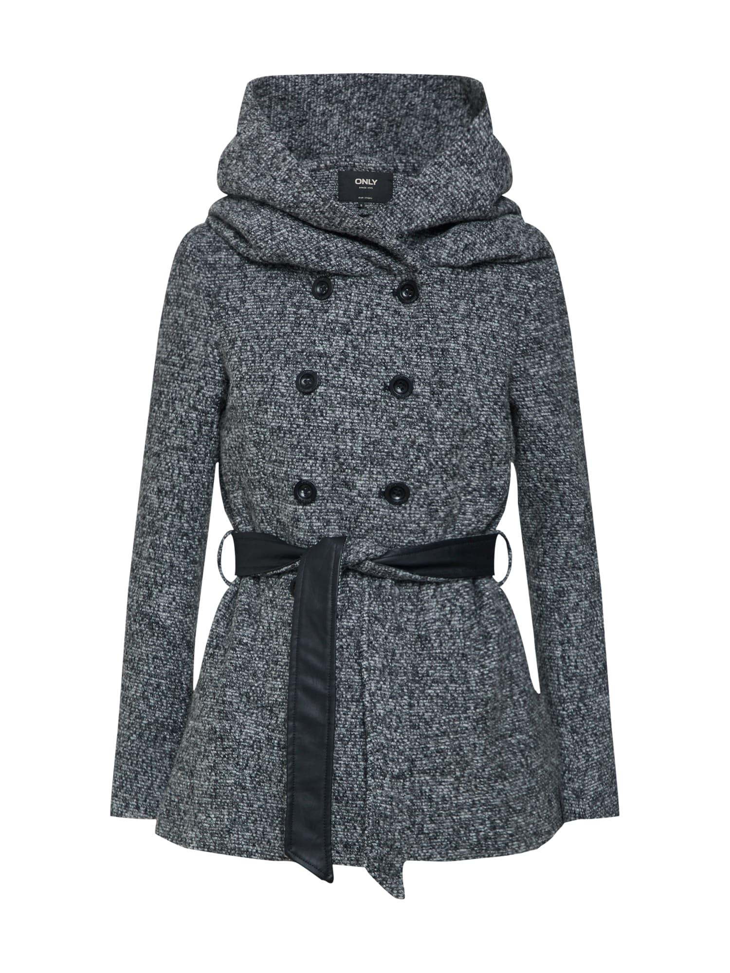 Zimní kabát šedý melír černá ONLY