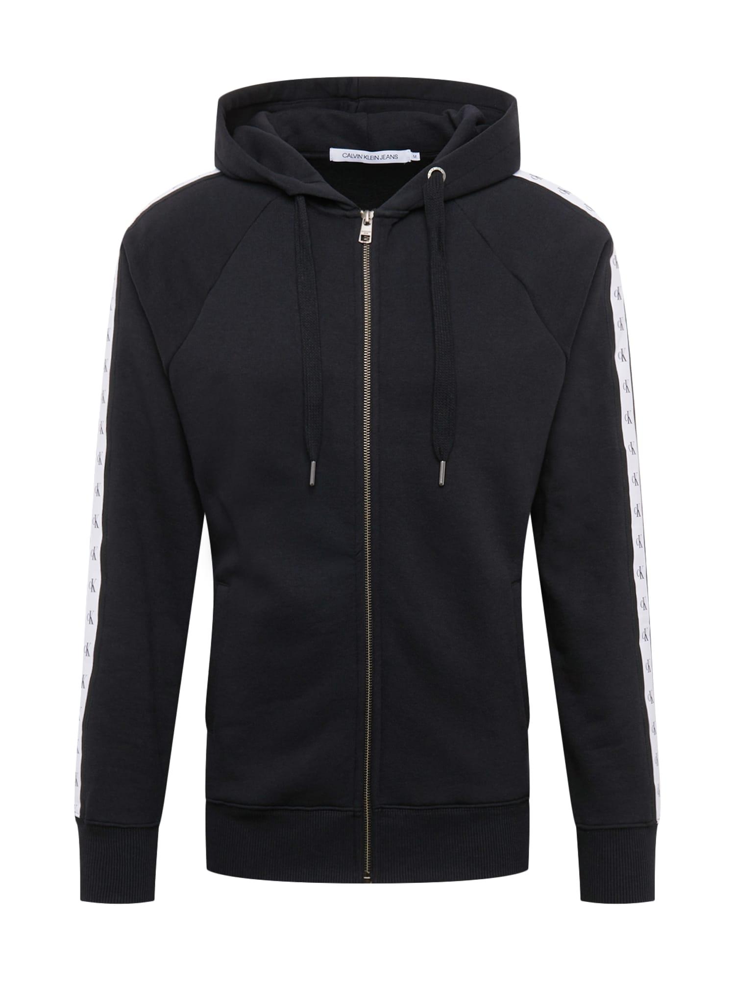 Calvin Klein Jeans Mikina s kapucí  černá