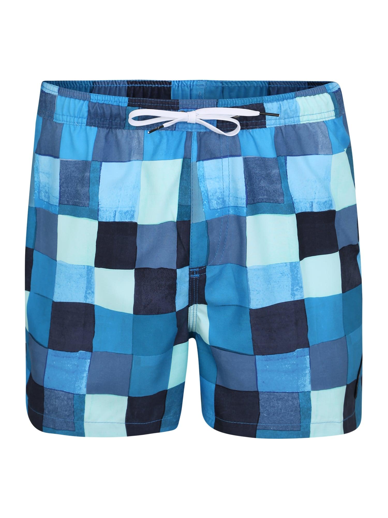 Plavecké šortky RESIN CHECK VOLLEY 15 modrá světlemodrá QUIKSILVER