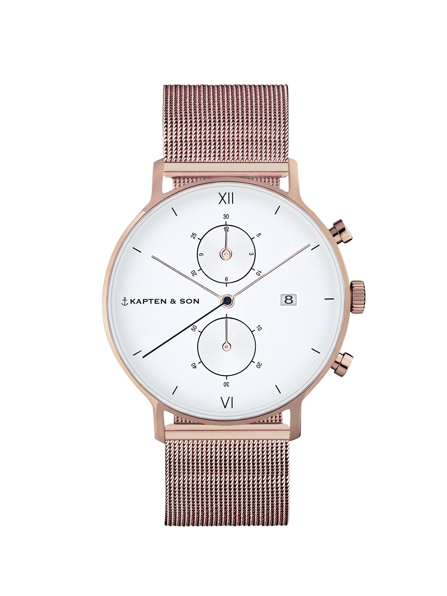 Analogové hodinky Small Chrono Mesh bronzová Kapten & Son