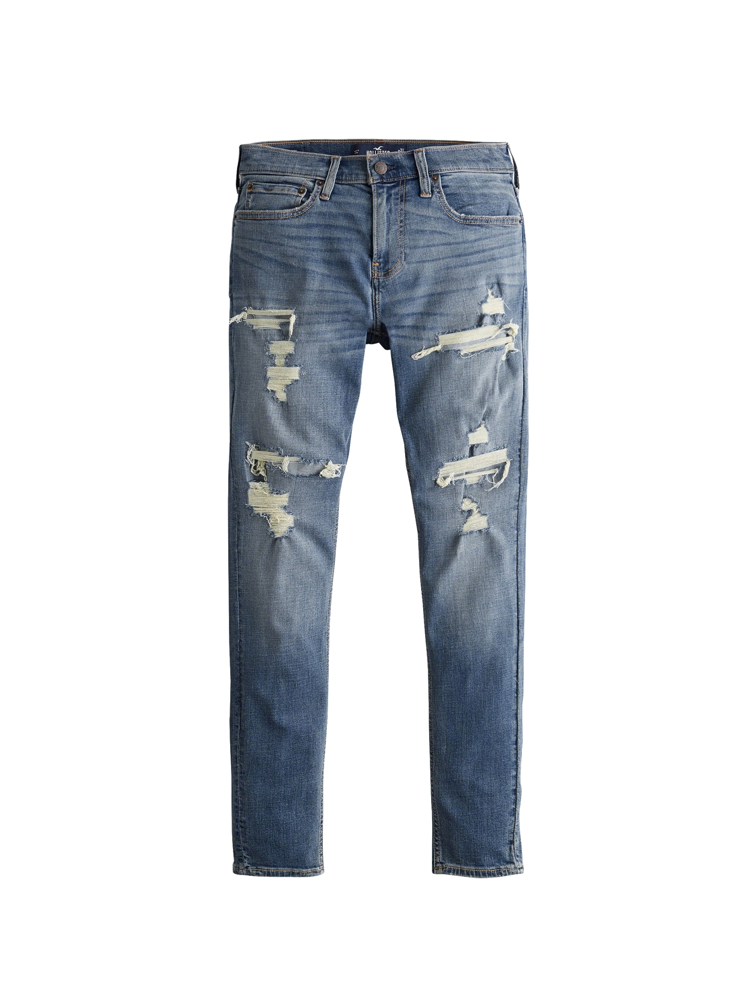 Džíny MEDIUM SELF PATCH SUPER SKINNY 1CC  modrá džínovina HOLLISTER