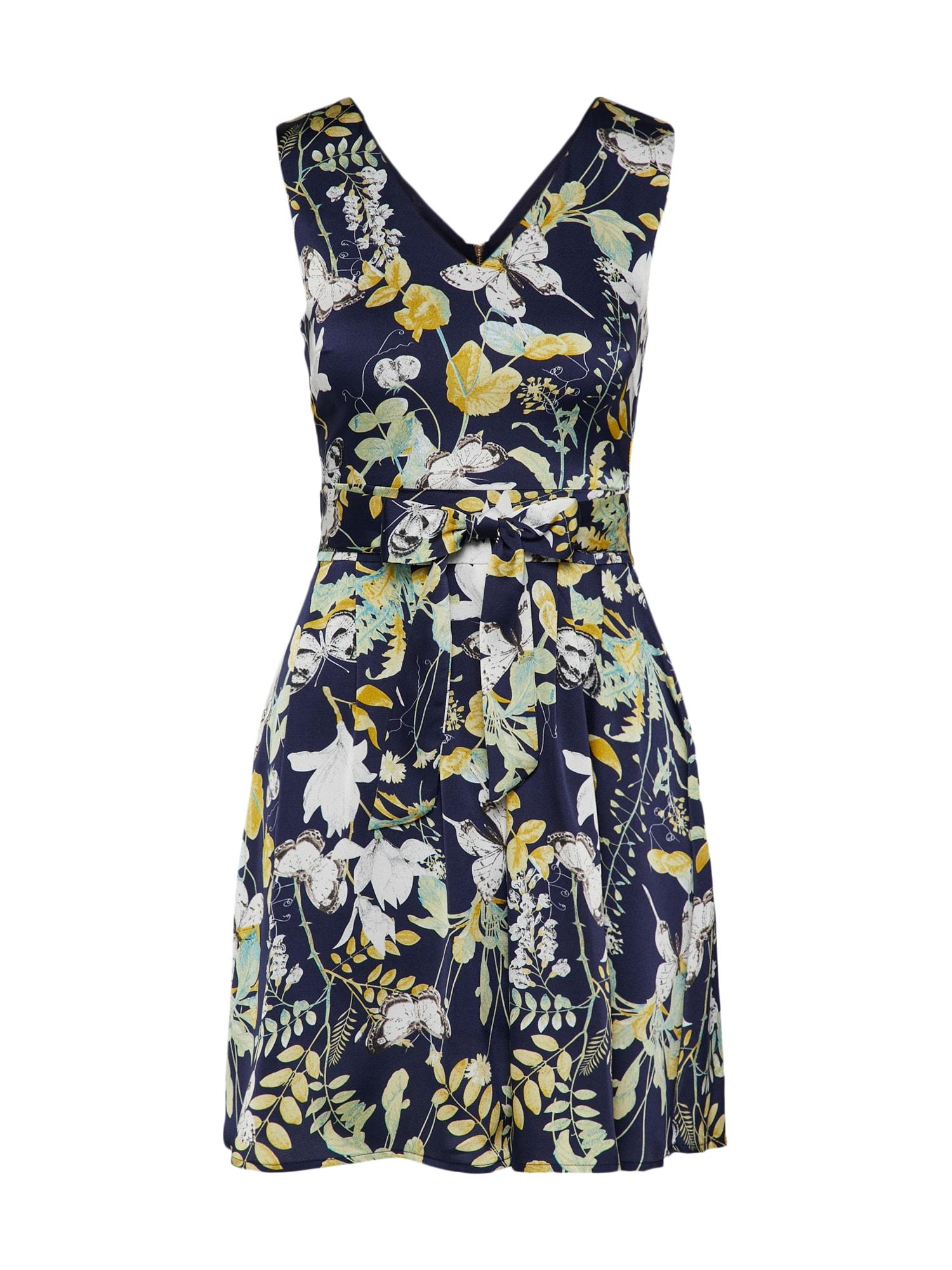 Letní šaty GARDEN PRINT námořnická modř žlutá bílá Mela London