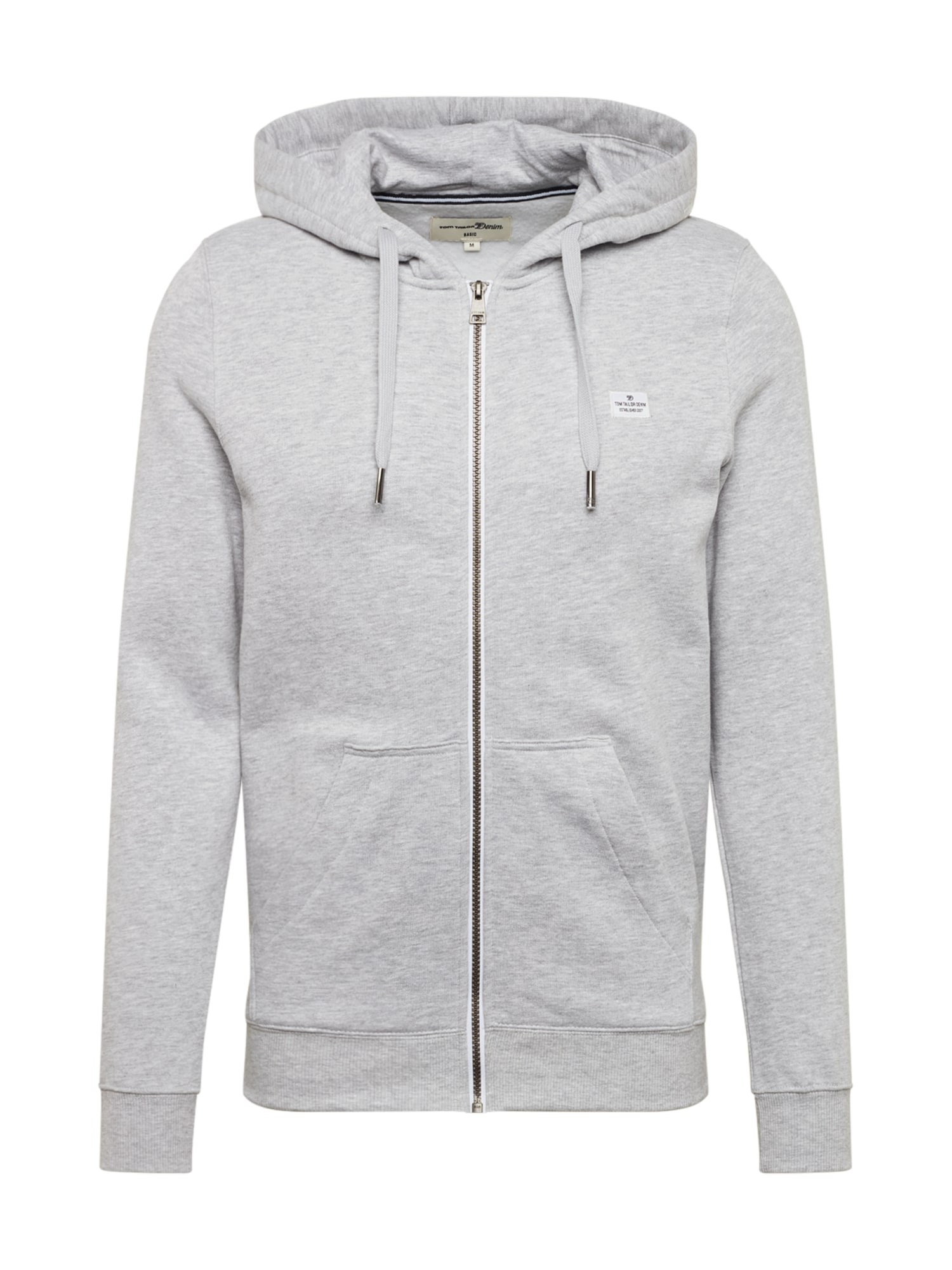 TOM TAILOR DENIM Mikina s kapucí 'hoodie jacket'  světle šedá
