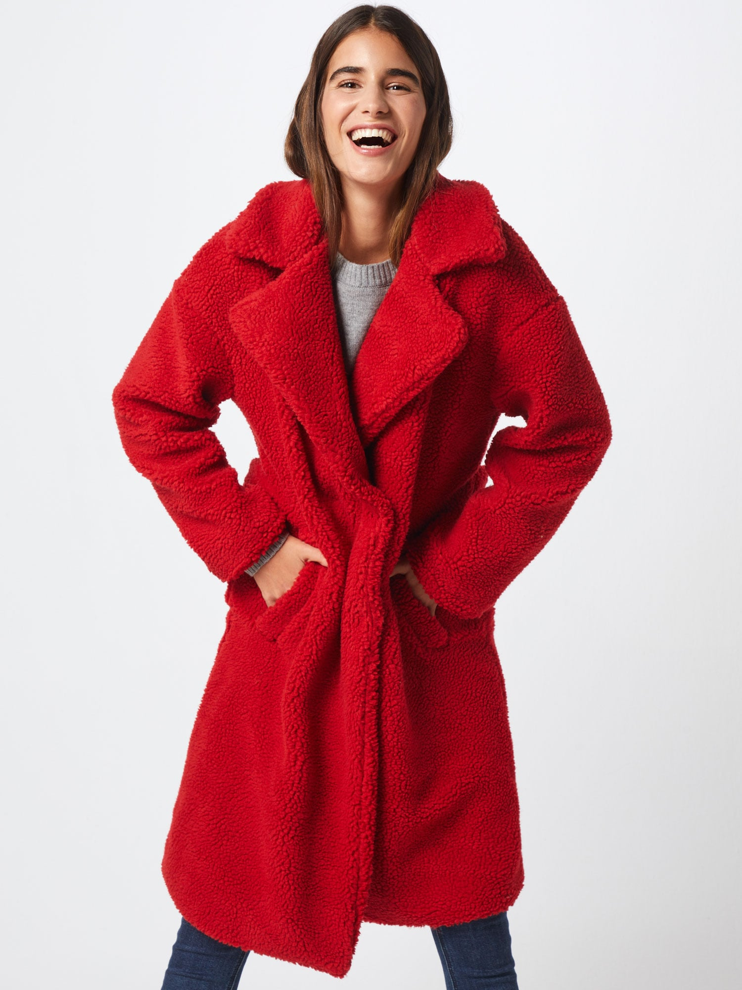 NA-KD, Dames Wintermantel 'Teddy Coat', rood