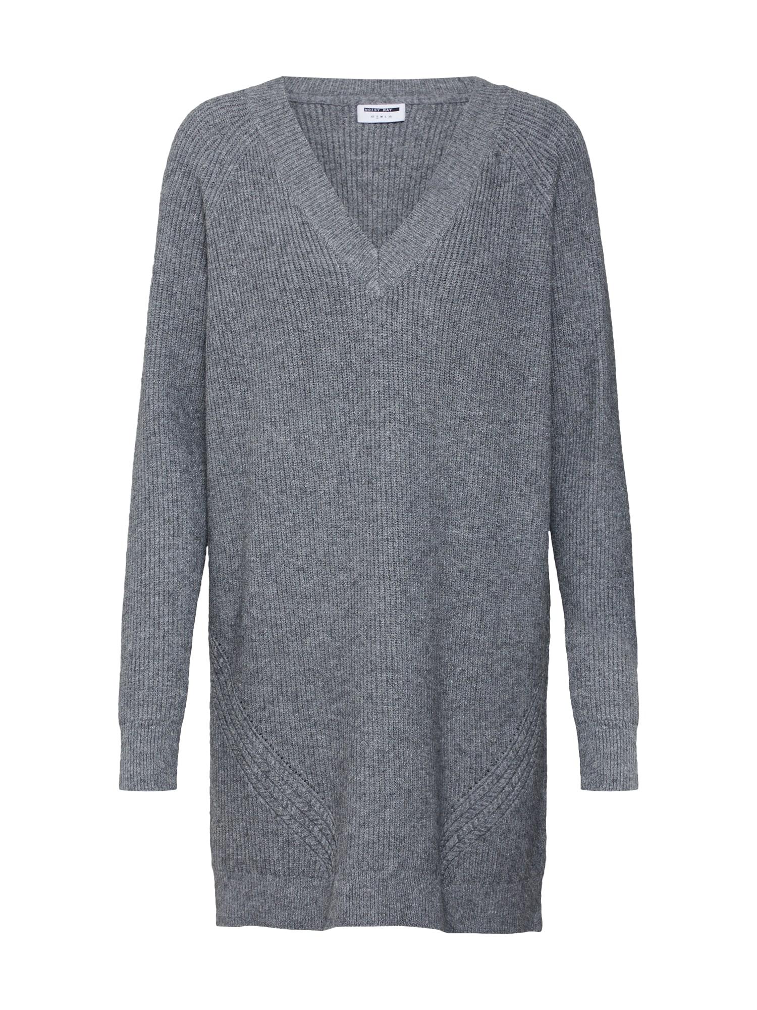 Úpletové šaty šedý melír Noisy May