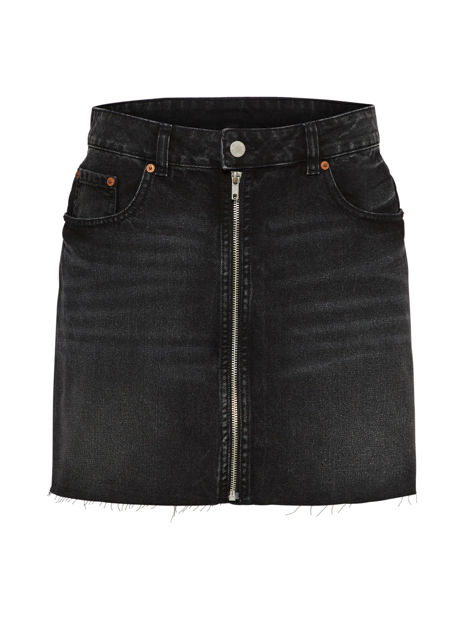 CHEAP MONDAY Dames Rok Zip short skirt black denim