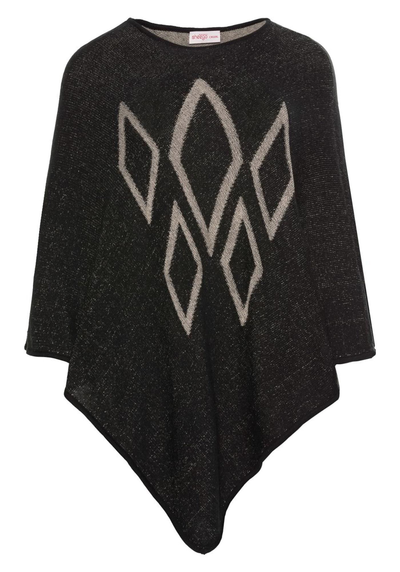 Poncho | Bekleidung > Pullover > Ponchos & Capes | Schwarz | SHEEGO