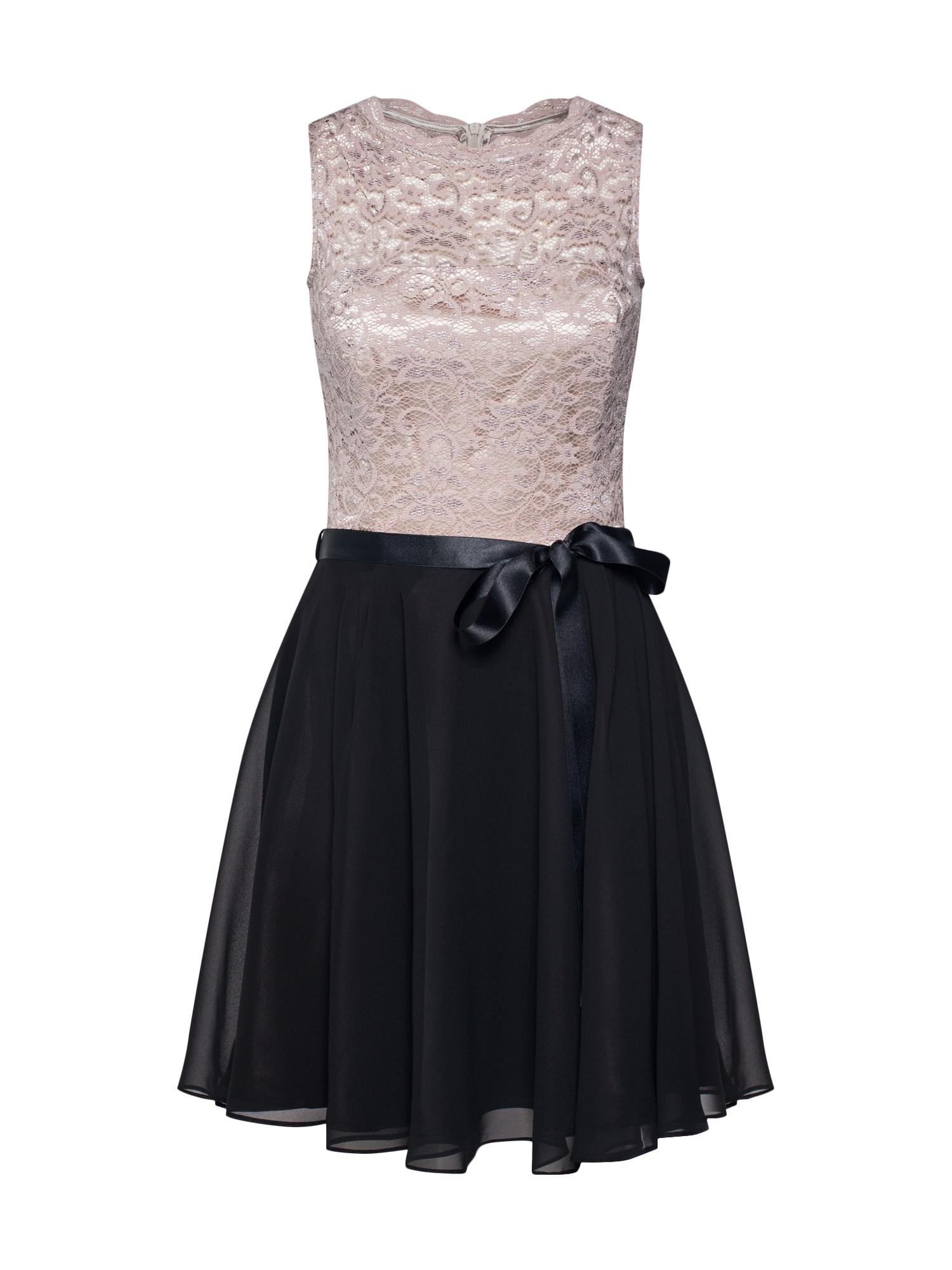 Koktejlové šaty pudrová černá SWING
