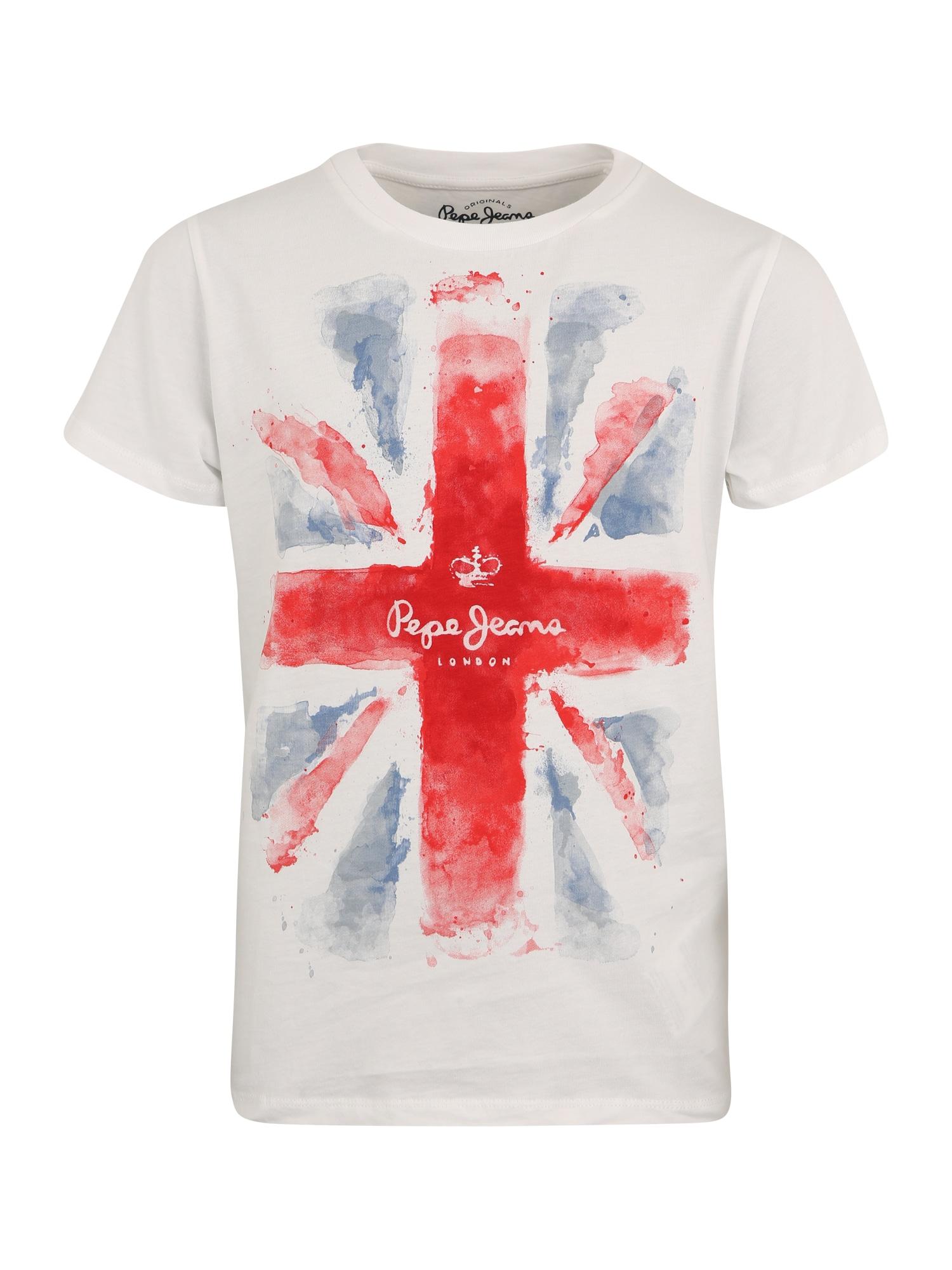 Pepe Jeans Jongens Shirt blue denim lichtrood wit