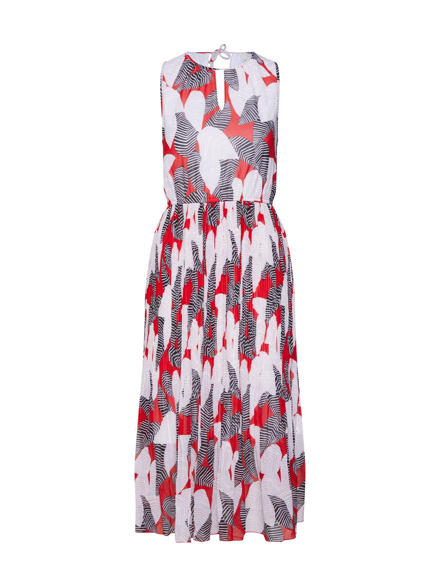 QS Designed By Letní šaty šedá červená bílá Q/S Designed By