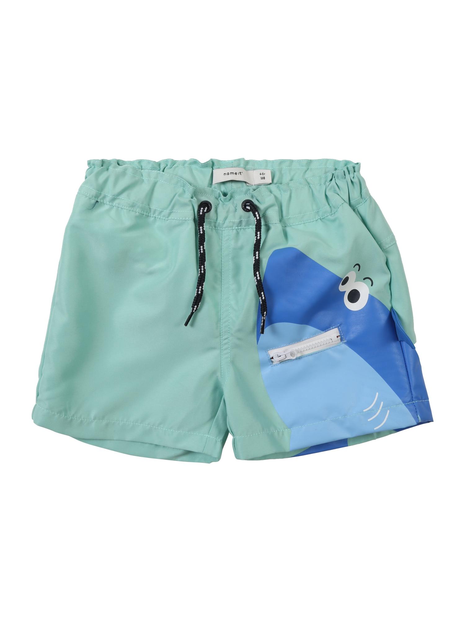 Plavecké šortky Zharky modrá tyrkysová světlemodrá bílá NAME IT