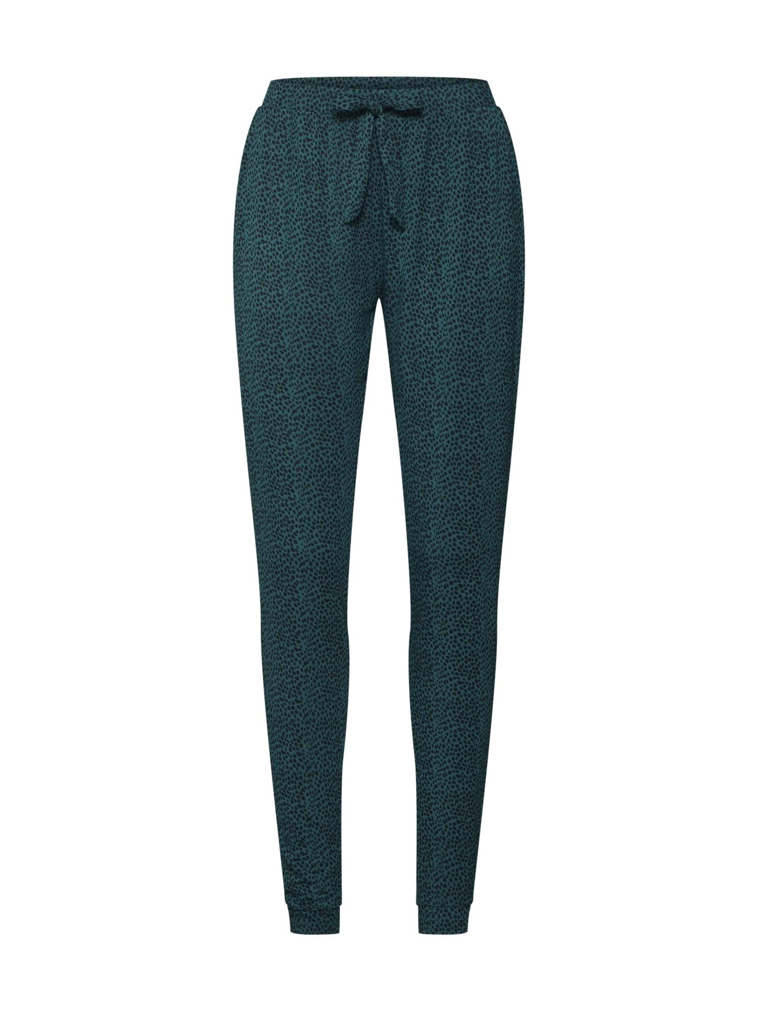 Pyžamové kalhoty tmavě zelená černá Hunkemöller
