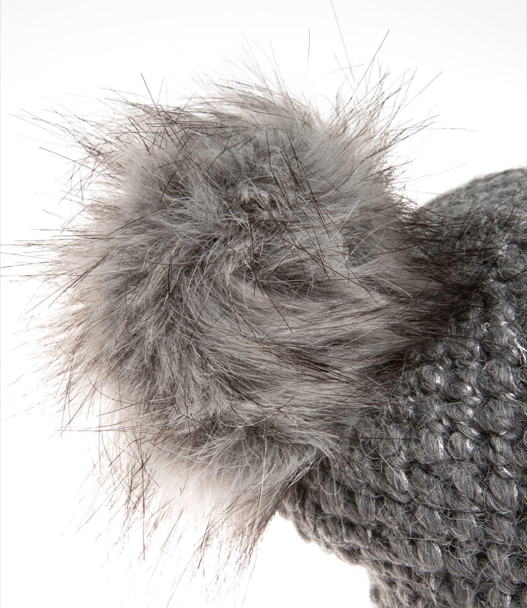 Mütze mit Lurexgarn und Fake-Fur-Bommel | Accessoires > Mützen > Bommelmützen | Grau | Soccx